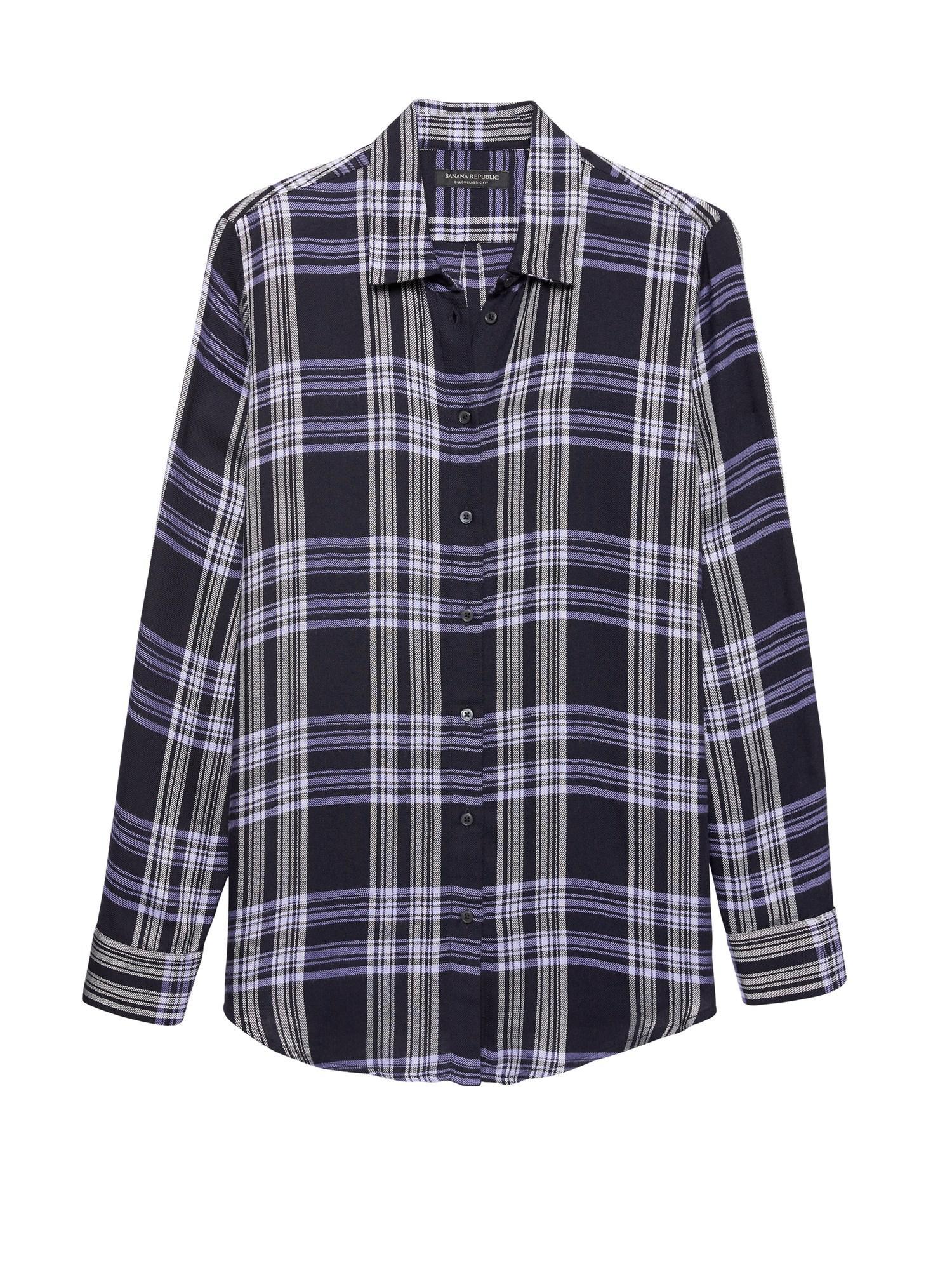 f60a4829593 Lyst - Banana Republic Petite Dillon Classic-fit Plaid Flannel Shirt ...