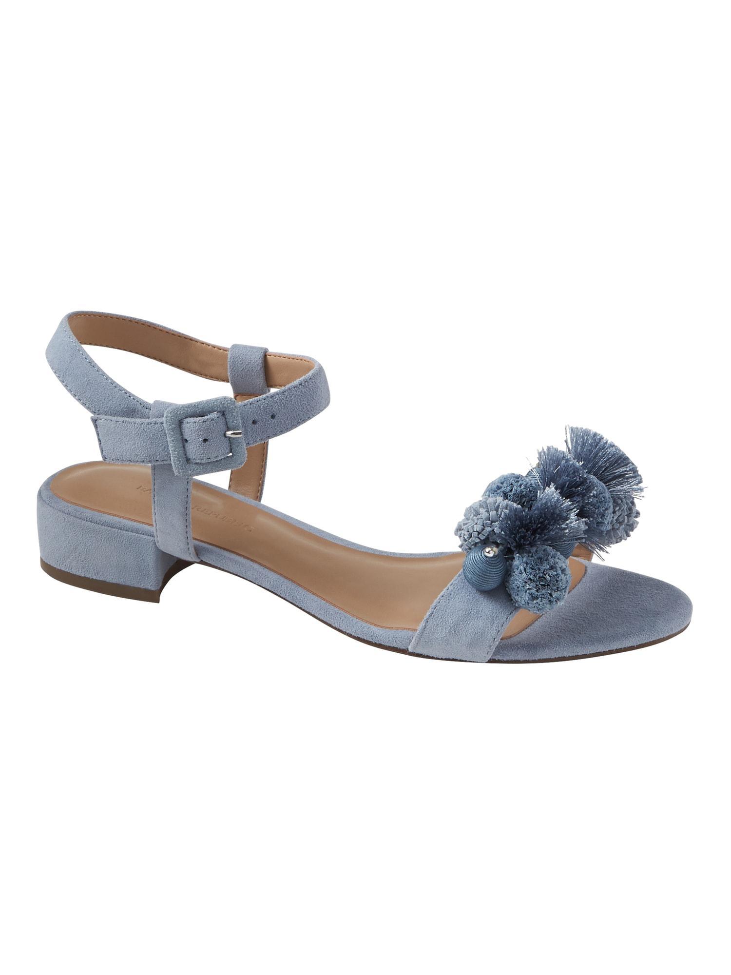 4da9d48ce98c Lyst - Banana Republic Pom Pom Low Heel Sandal in Blue