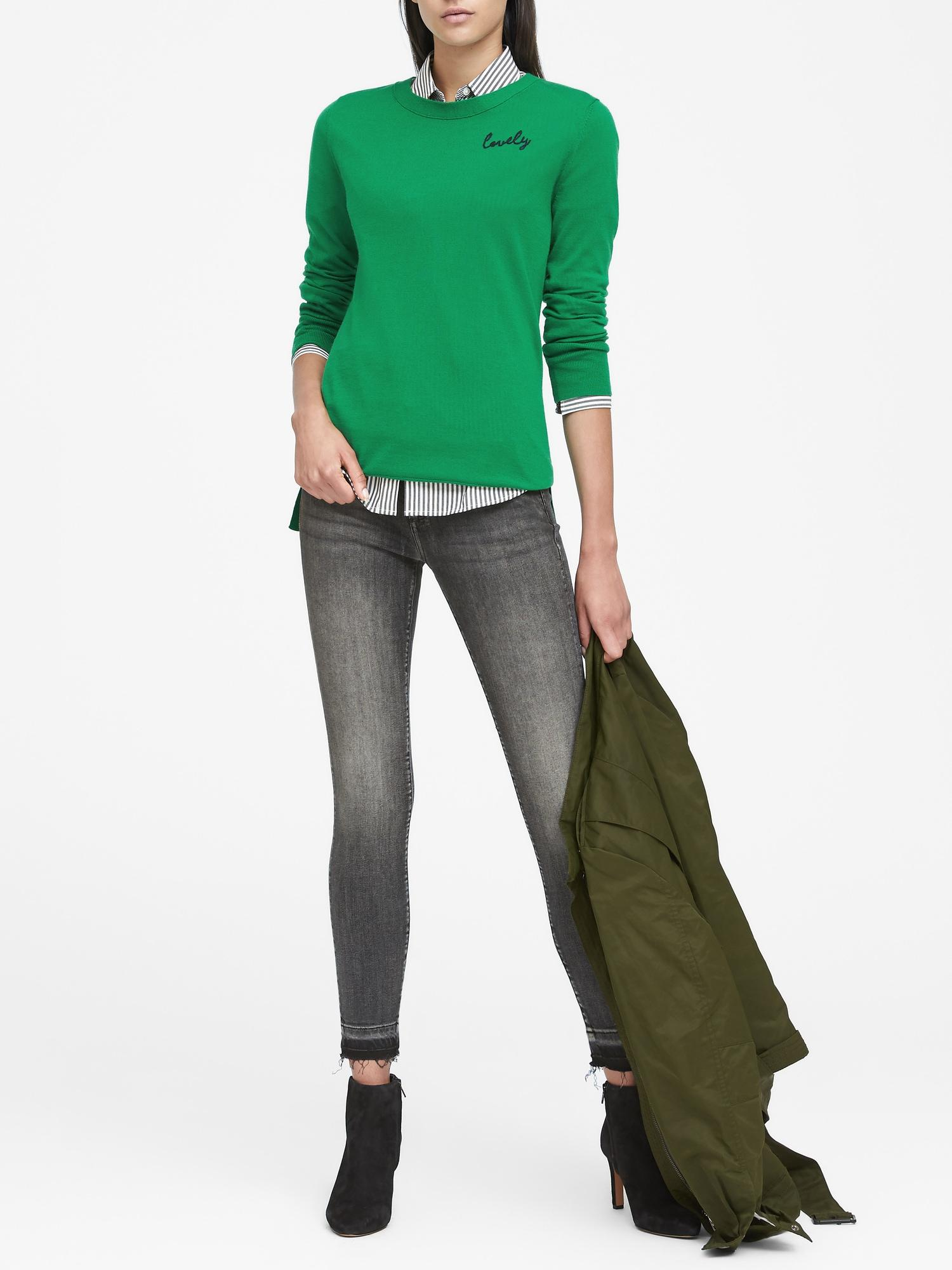 45ccc64a0fd8f2 Lyst - Banana Republic Washable Merino Lovely Sweater in Green