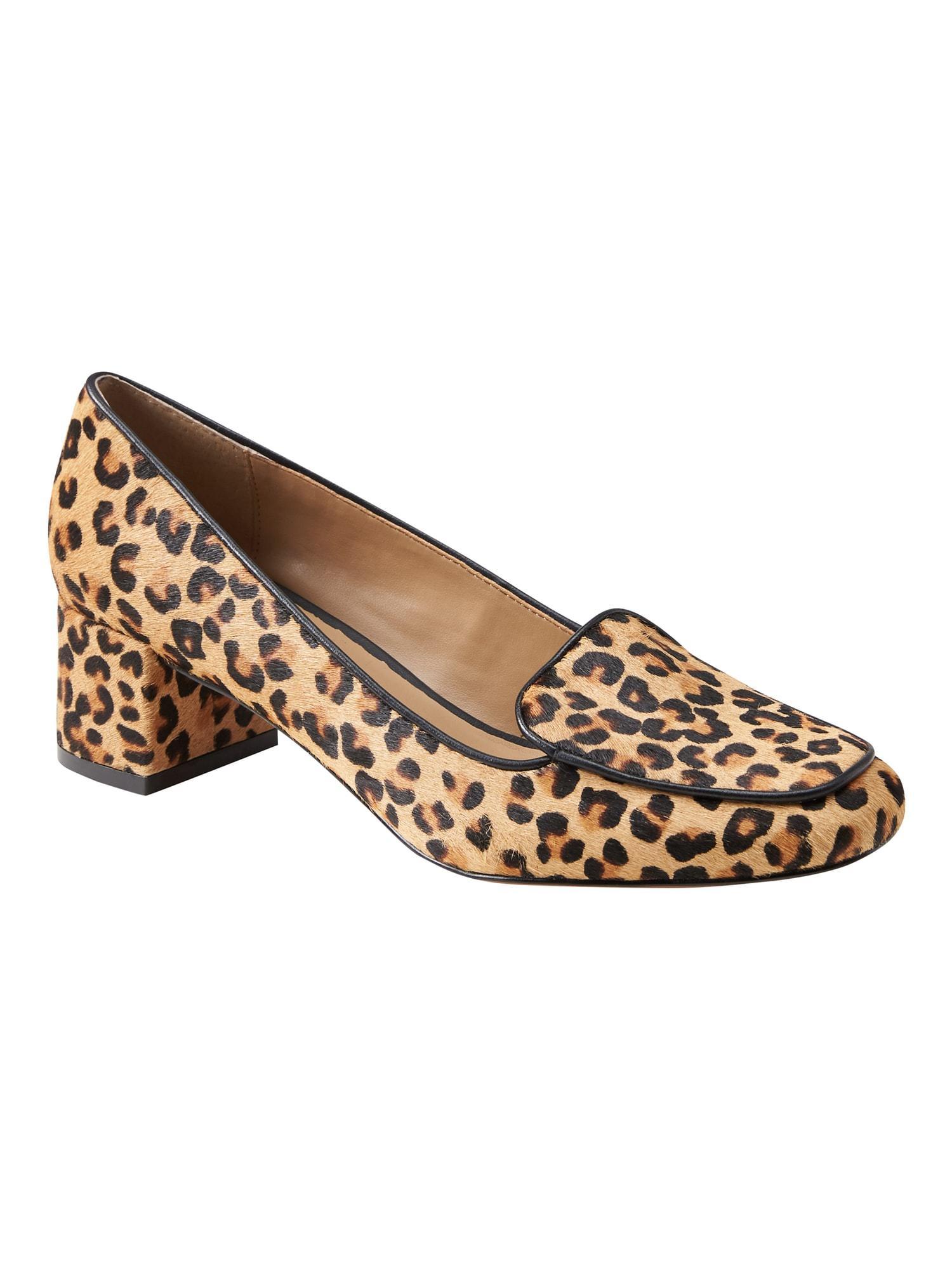 e98f520d423 Lyst - Banana Republic Low Block-heel Leopard Print Loafer in Brown