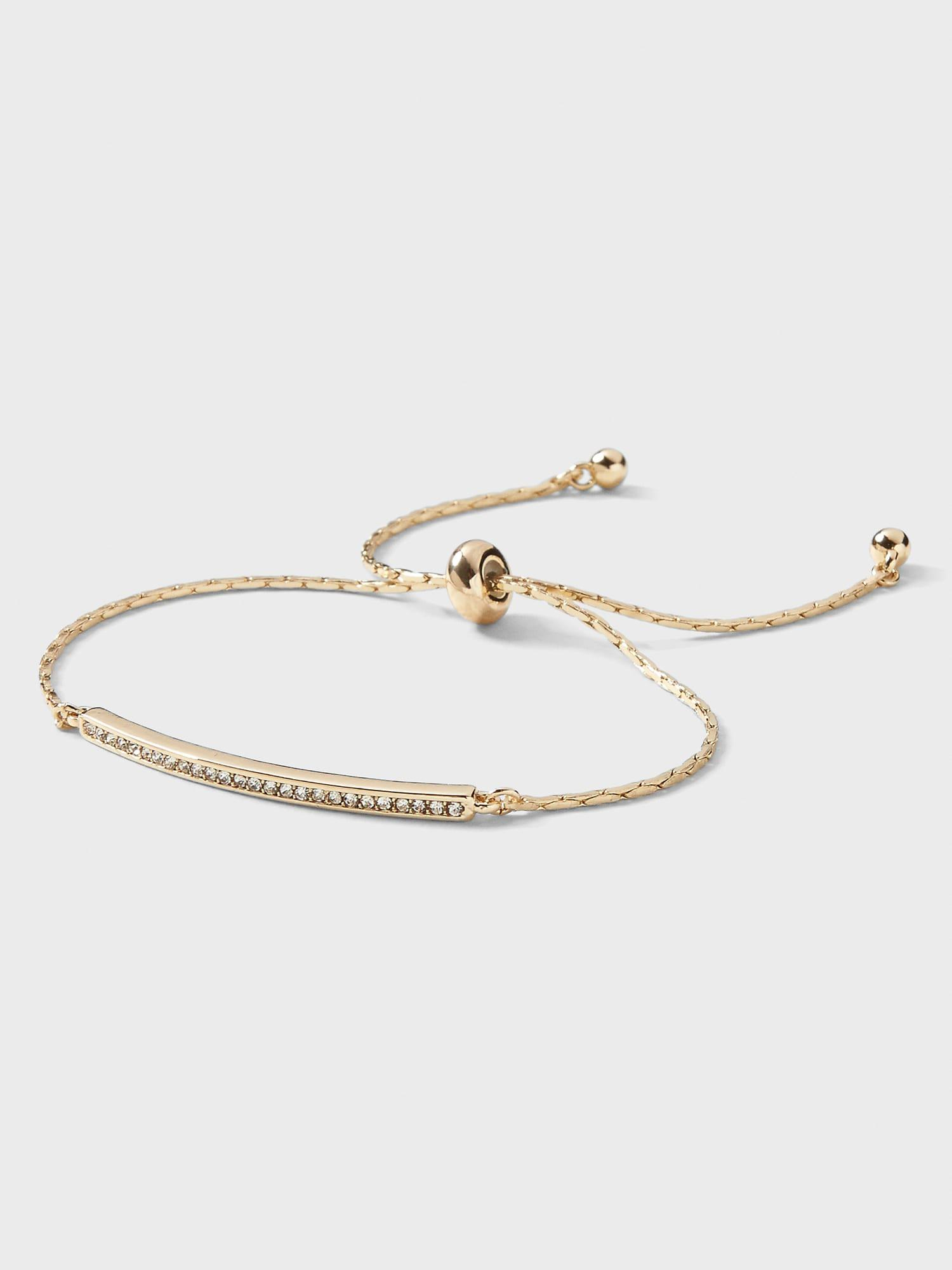 Delicate Pave Bar Pull Through Bracelet