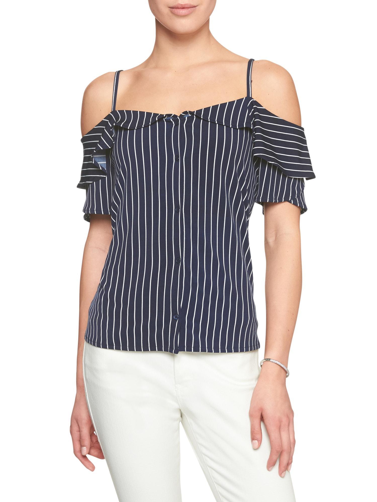 d848b5c61fd75 Lyst - Banana Republic Factory Stripe Matte Jersey Off-shoulder Top ...