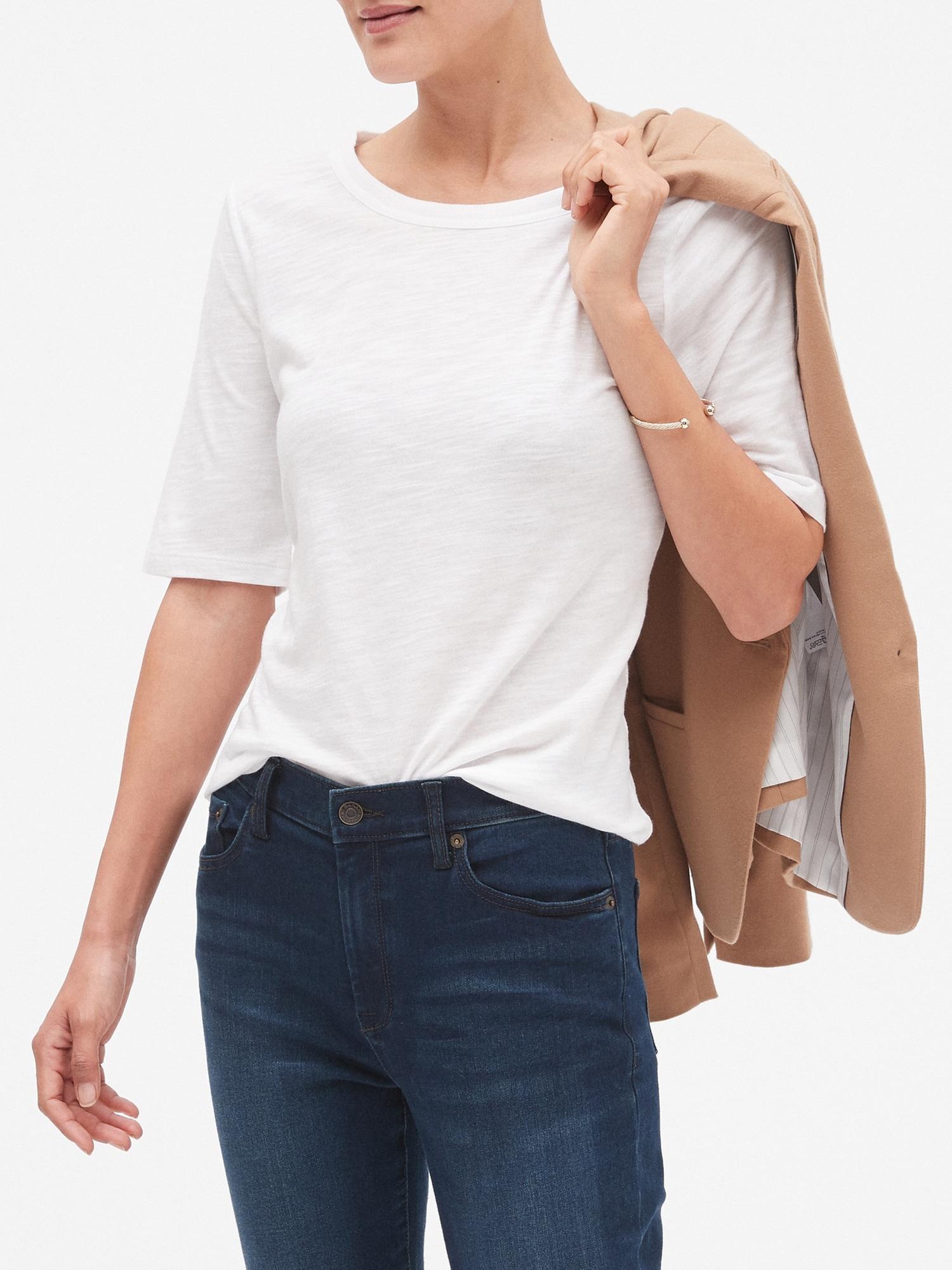 47efc5ab Banana Republic Factory. Women's White Malibu Elbow-sleeve Crew Neck T Shirt