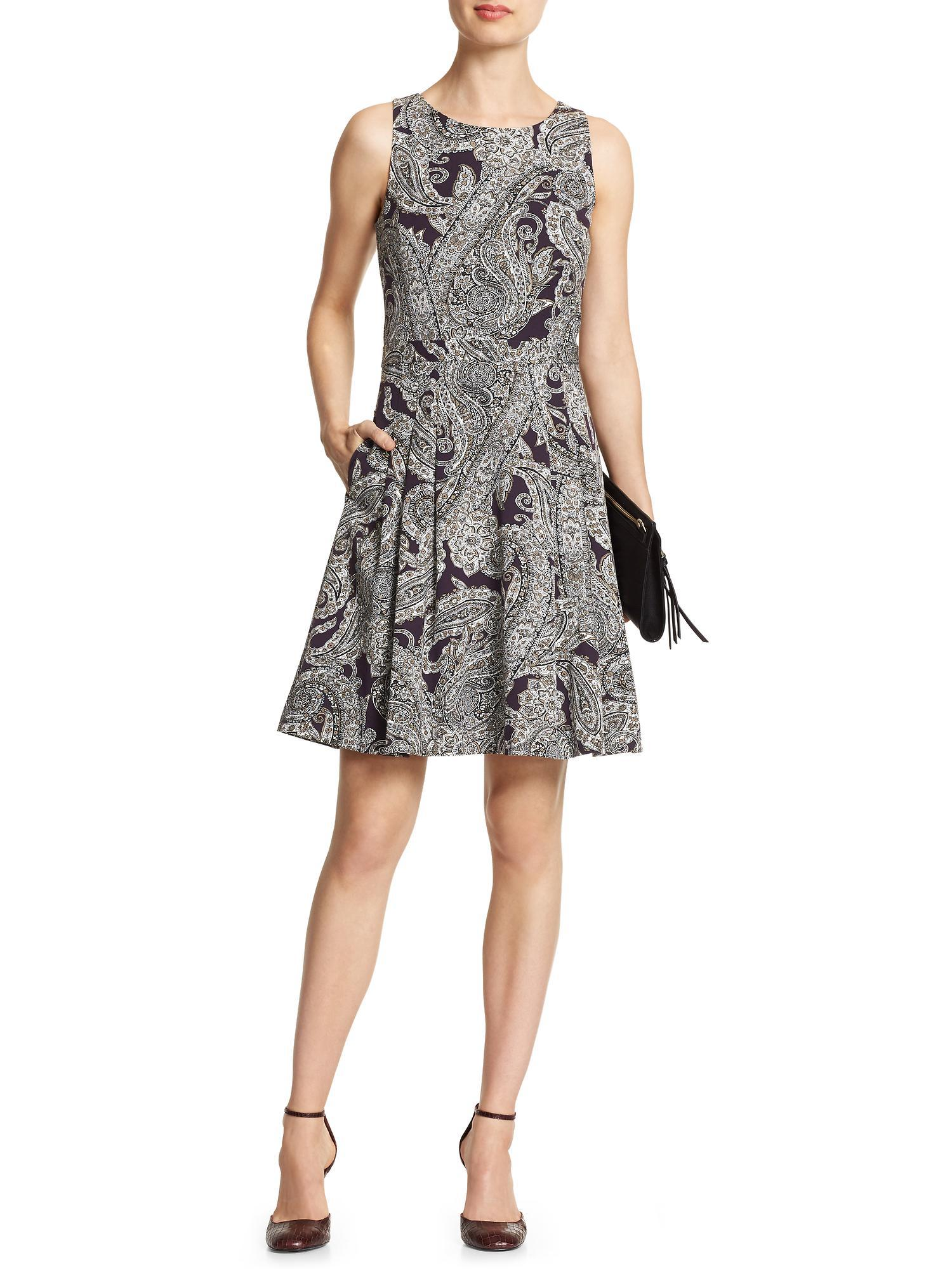 52e9a76a Lyst - Banana Republic Factory Paisley Fit And Flare Dress