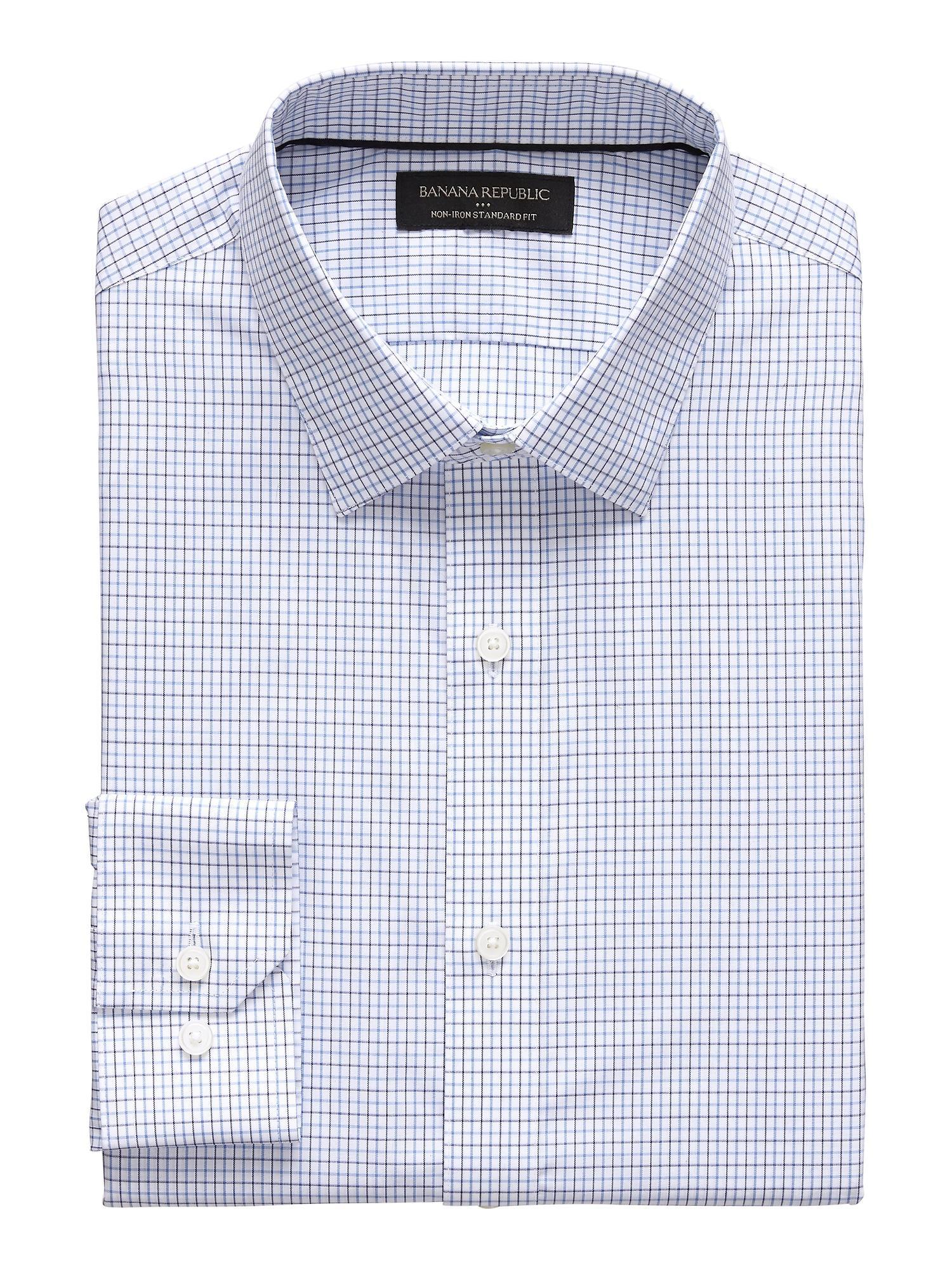 910021c57a Banana Republic Factory. Men s Blue Standard-fit Non-iron Yarn Dye Shirt
