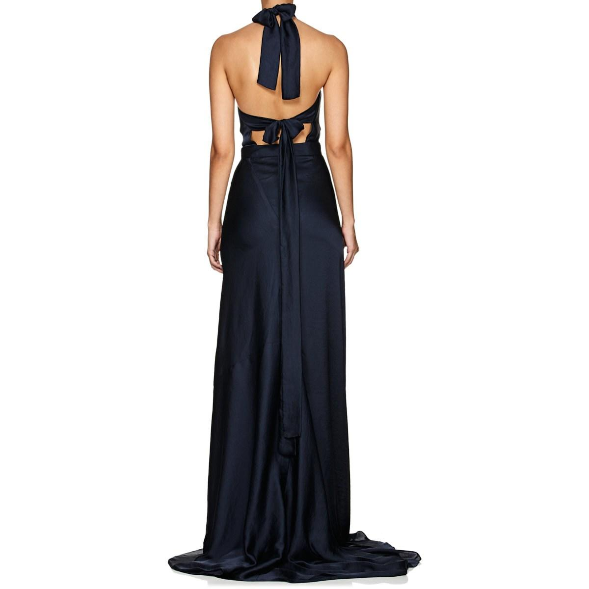241913018f98 Juan Carlos Obando Satin Halter Gown in Blue - Lyst