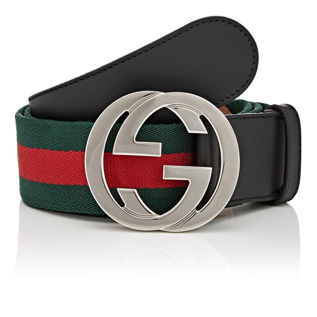 061ca4916e4 Gucci Web Striped Canvas Belt for Men - Lyst