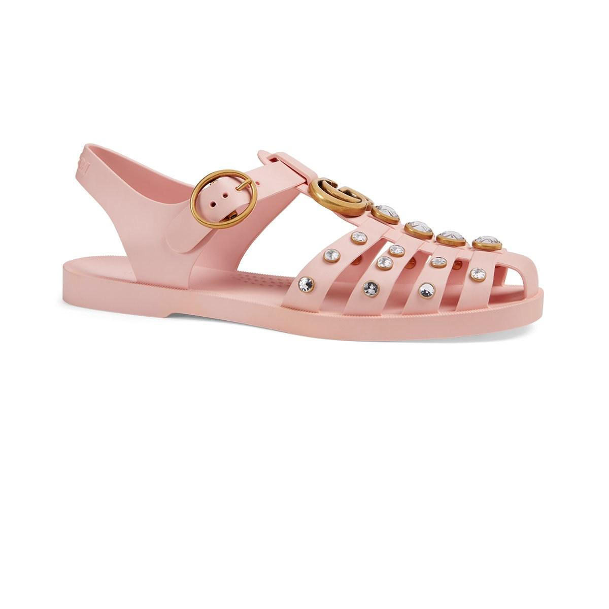 0a29dabc9bfc Gucci - Pink Crystal-embellished Rubber Sandals - Lyst. View fullscreen