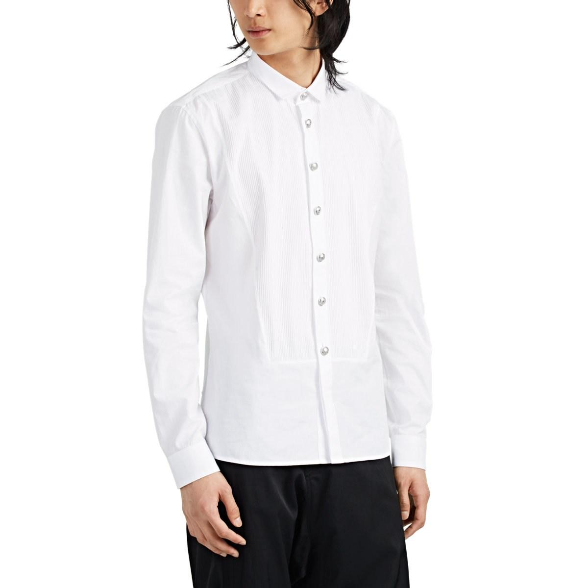 965cfa2a4e5e3a Balmain - White Pleated-bib Cotton Tuxedo Shirt for Men - Lyst. View  fullscreen