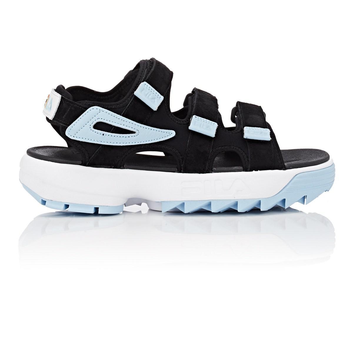 a4131e10529 Lyst - Fila Disruptor Suede   Neoprene Sandals in Black