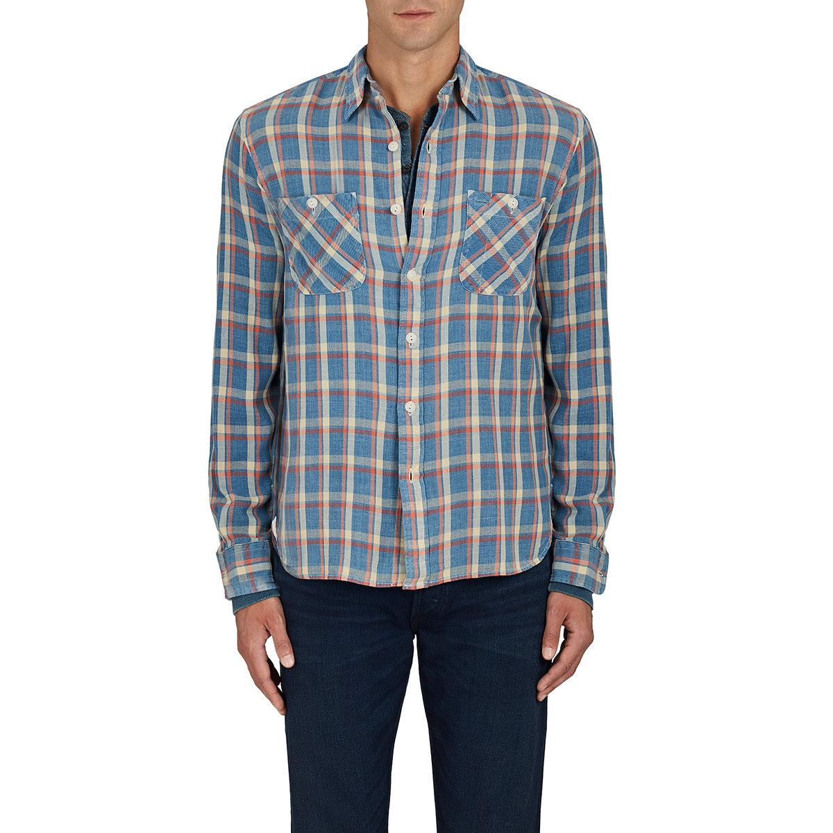 Rrl cody plaid cotton work shirt in blue for men lyst for Blue cotton work shirts