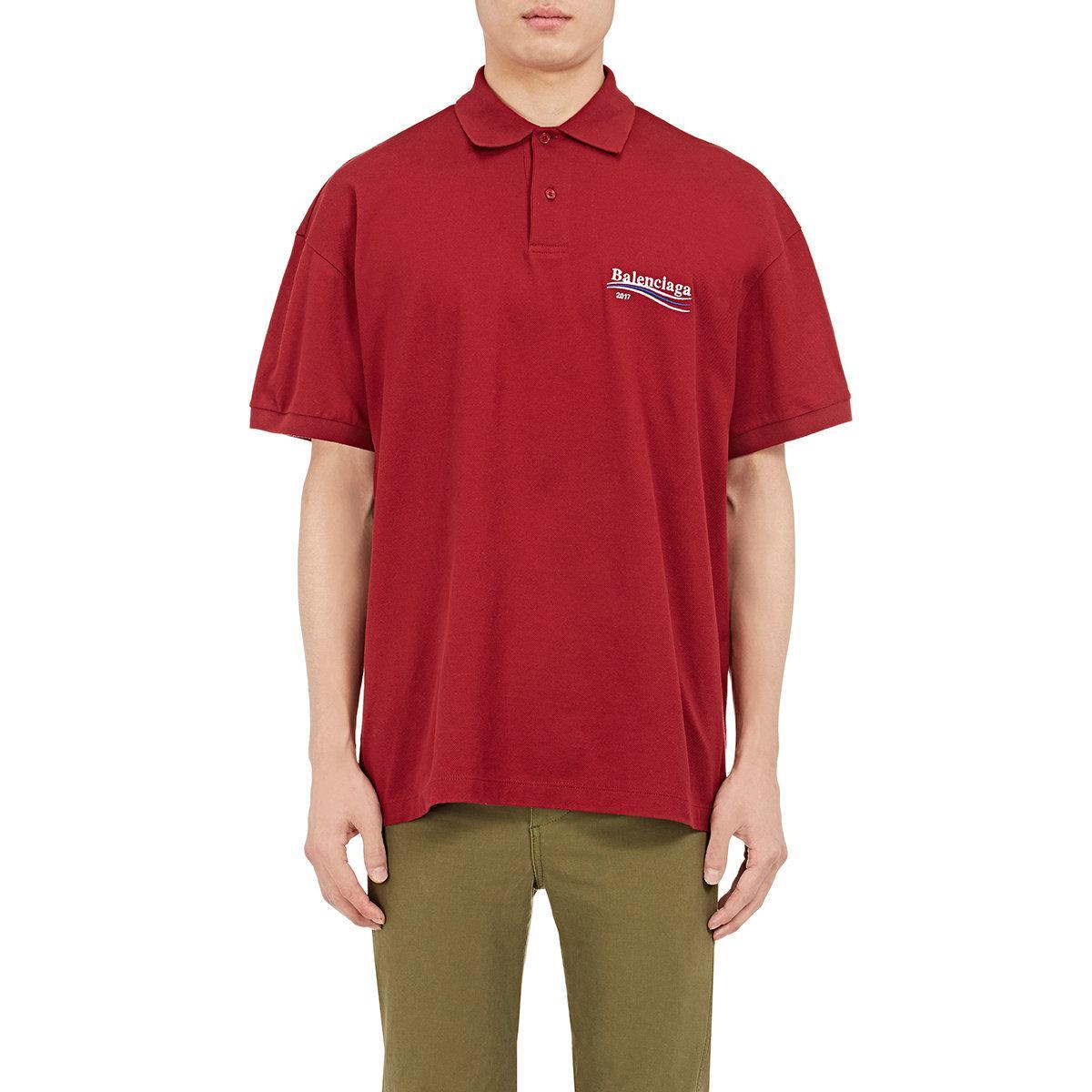 40eae0e7 Balenciaga Logo Cotton Polo Shirt in Red for Men - Lyst