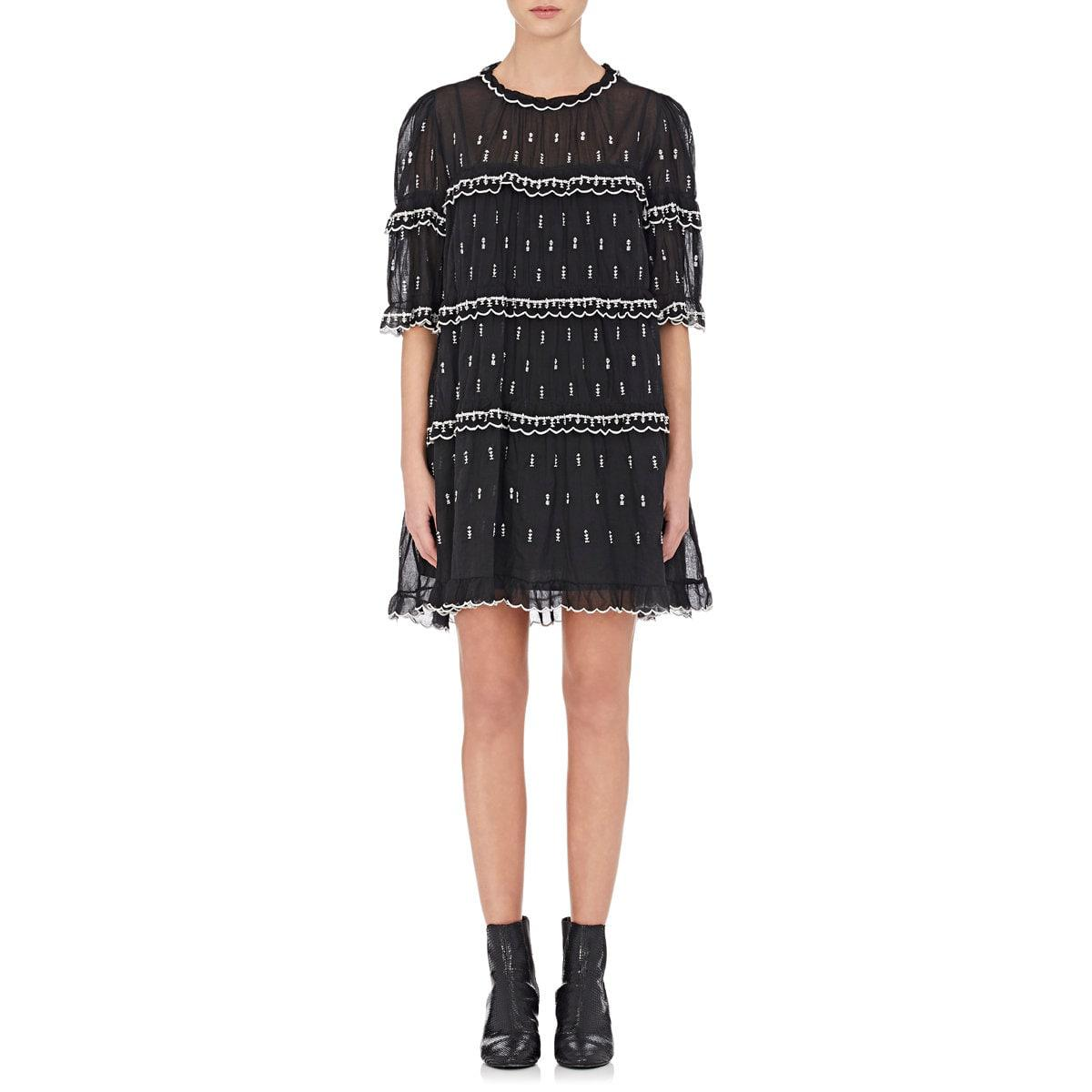 8aed96ee091 Étoile Isabel Marant Lyin Cotton Voile Embroidered Dress in Black - Lyst