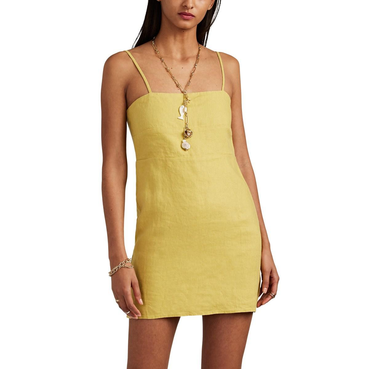 2c9ad499deb Lyst - Sir. The Label Mariele Slub Linen Minidress in Yellow