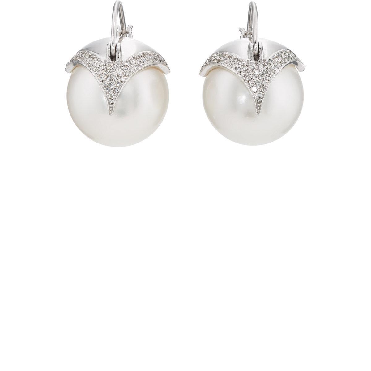Womens Pearl & Diamond Drop Earrings Samira 13 71UCp4Z