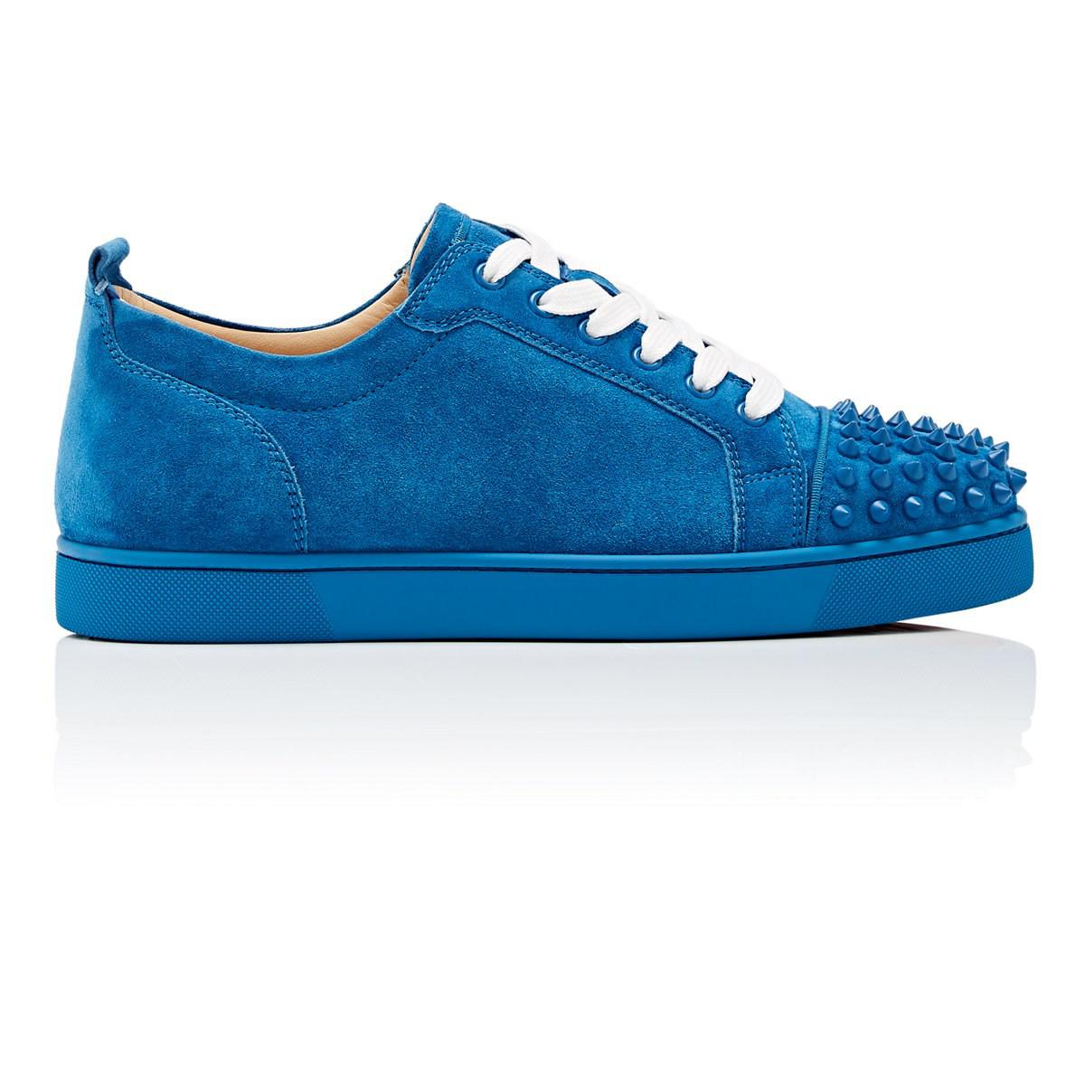 bd5a45fdbe2 Christian Louboutin Louis Junior Spikes Flat Suede Sneakers in Blue ...