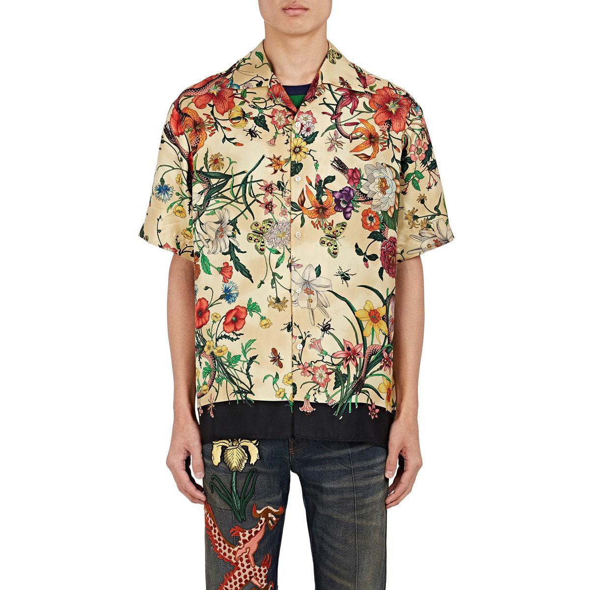 f4e3bc8923ef Gucci Floral Print Short Sleeve Shirt