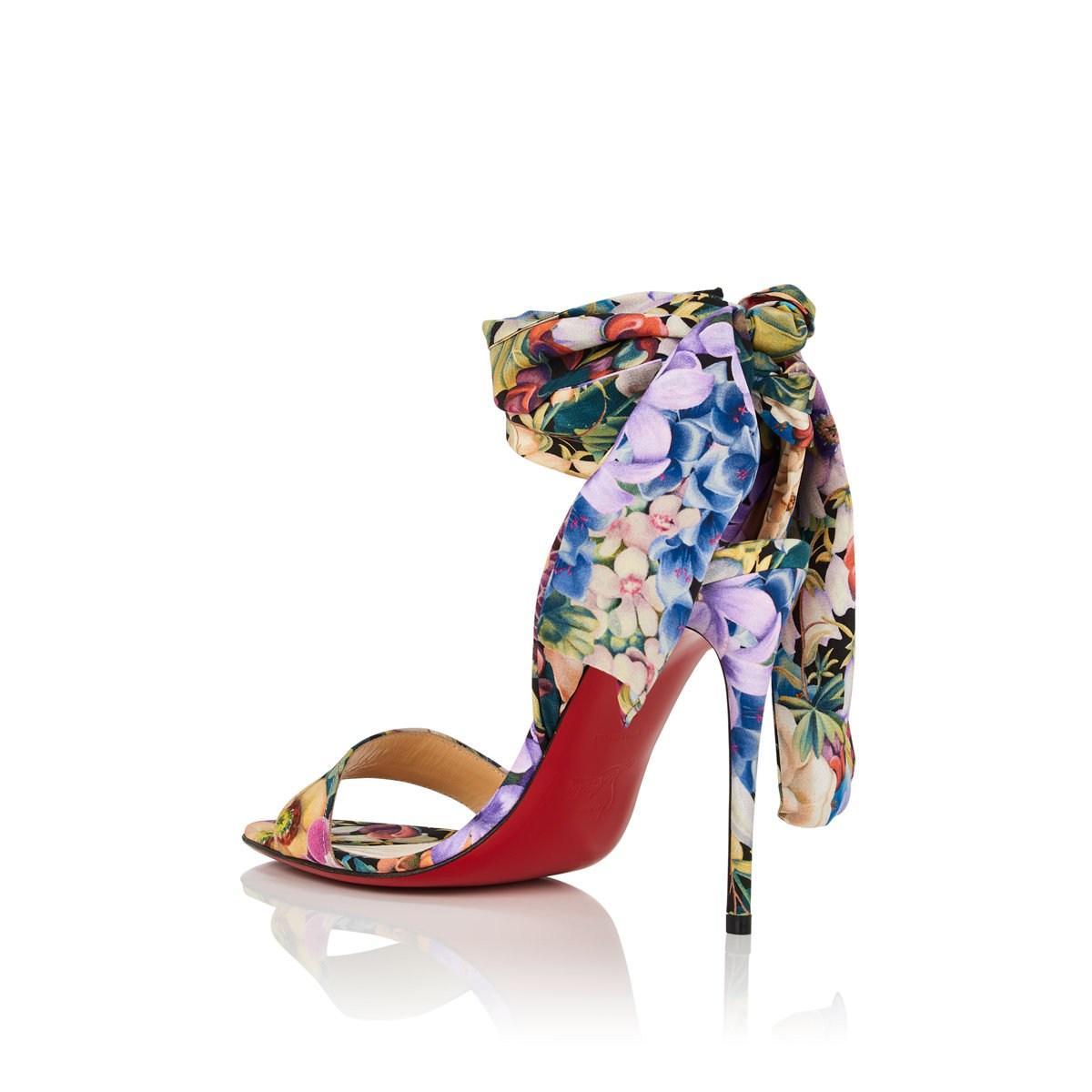 260ab4f89469 Christian Louboutin - Blue sandale Du Desert Floral Crepe Sandals Size 6 -  Lyst. View fullscreen