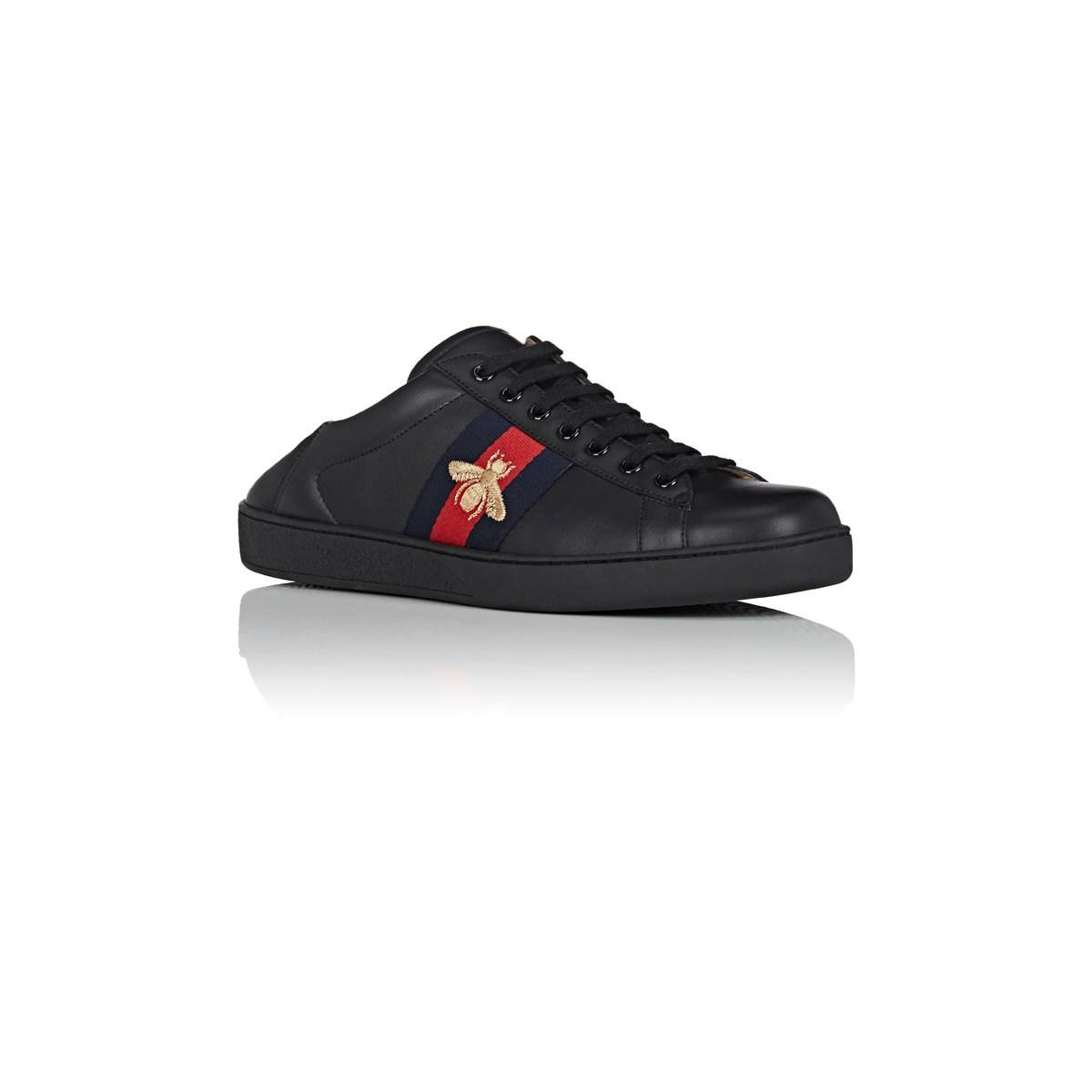 ee576802c22 Gucci - Black New Ace Leather Sneakers for Men - Lyst. View fullscreen
