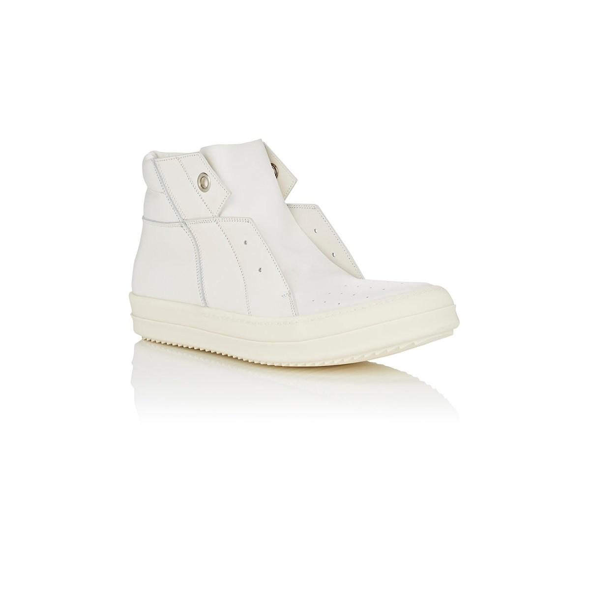 Dunk Island Australia: Rick Owens Island Dunk Leather Sneakers In White For Men