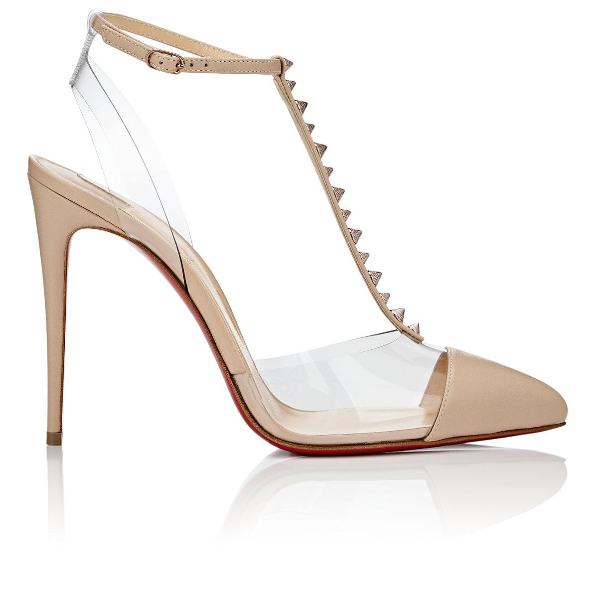 ac962d3dad55 Lyst - Christian Louboutin Nosy Spikes Leather   Pvc Pumps in White