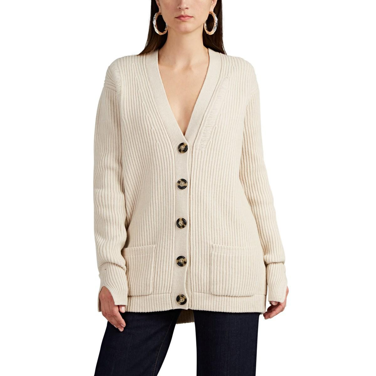 Helmut Lang Distressed Wool Oversized Cardigan in Natural - Lyst a9786833f
