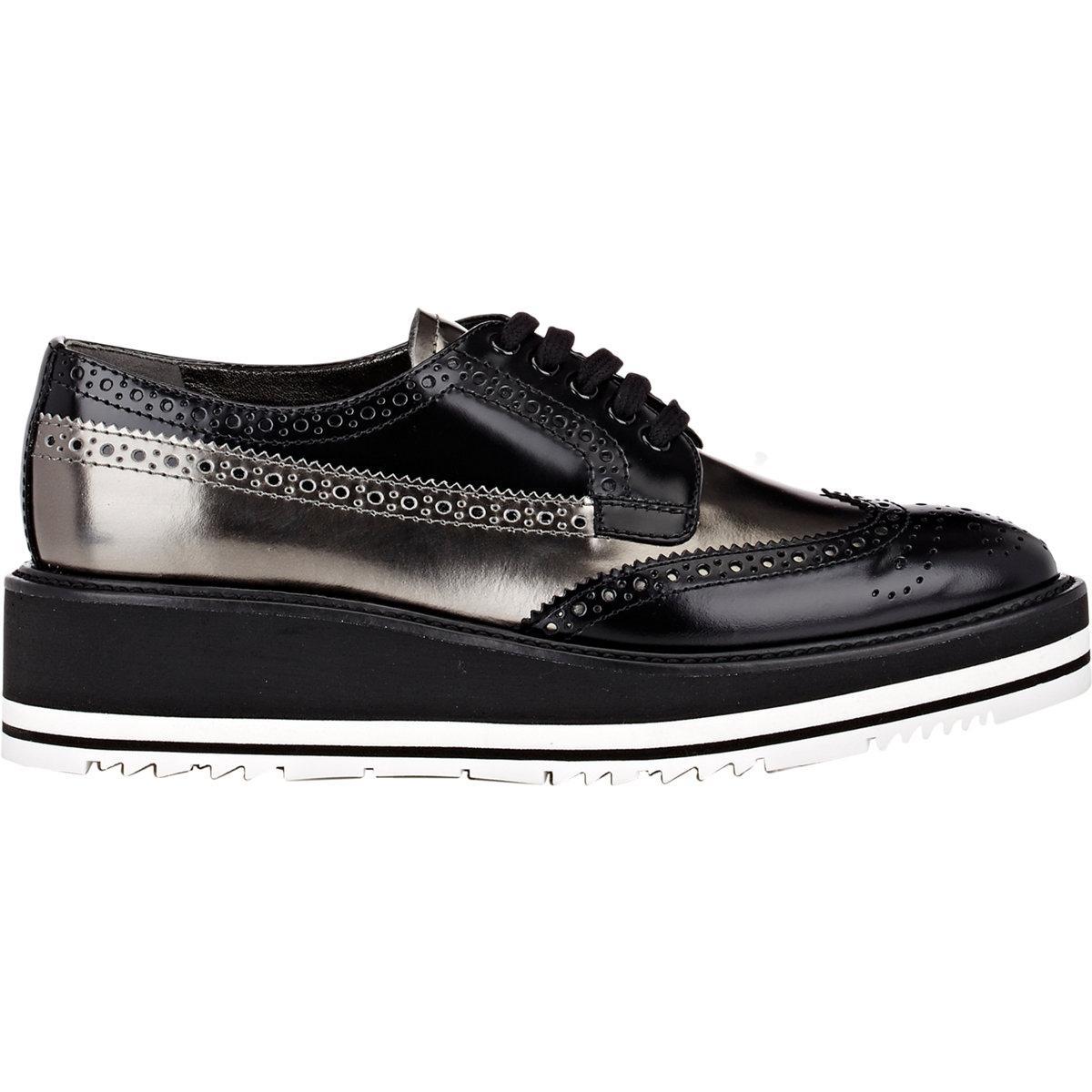 Prada White Wingtip Shoes Men