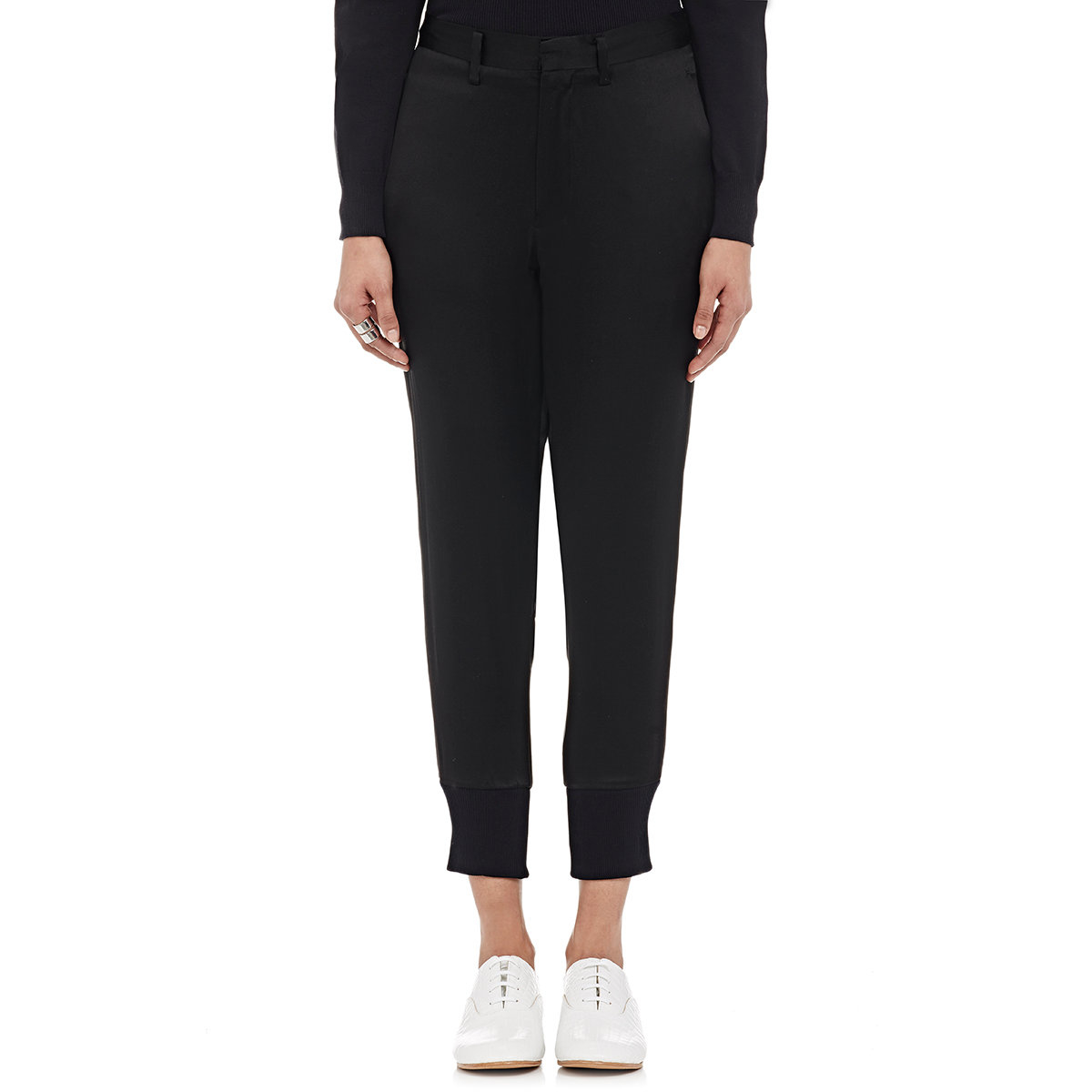 Noir Kei Ninomiya Women S Satin Jogger Trousers In Black