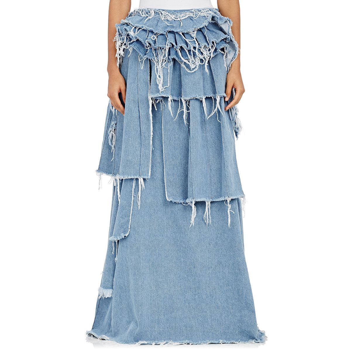 white c o virgil abloh denim tiered ruffle skirt in