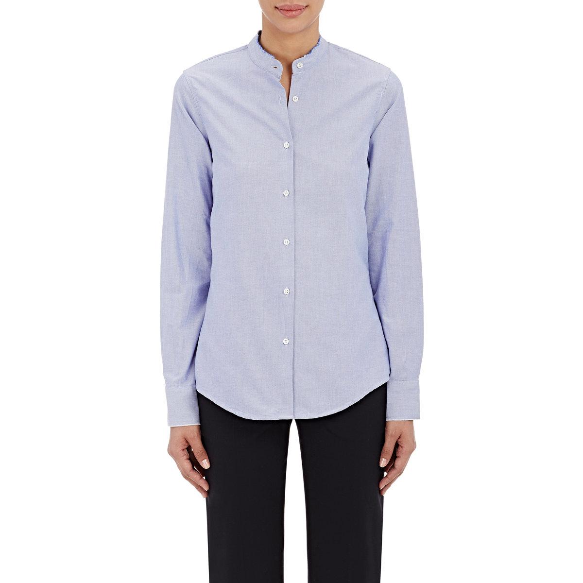 barneys new york oxford cloth shirt in blue light blue