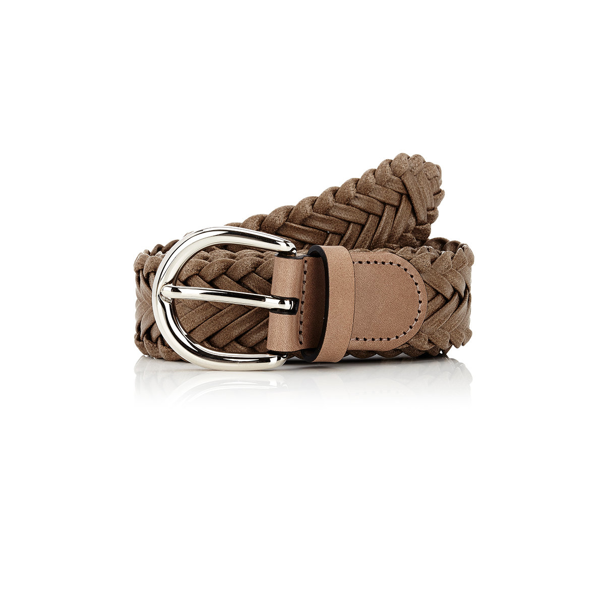 barneys new york s braided leather belt in brown for