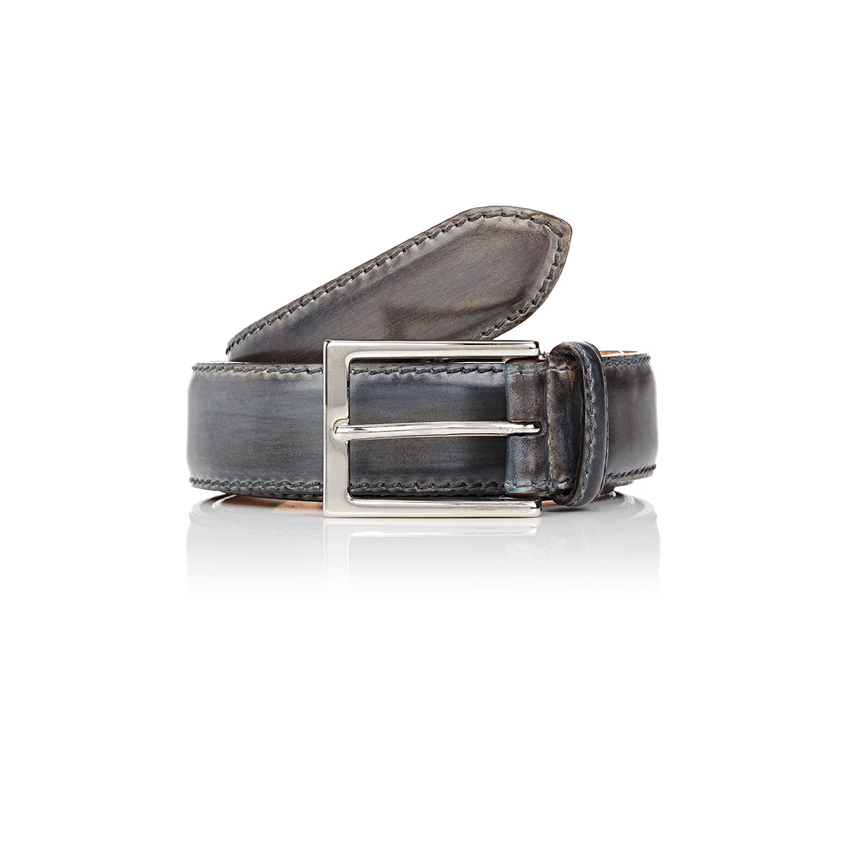 harris s burnished smooth leather belt in blue for