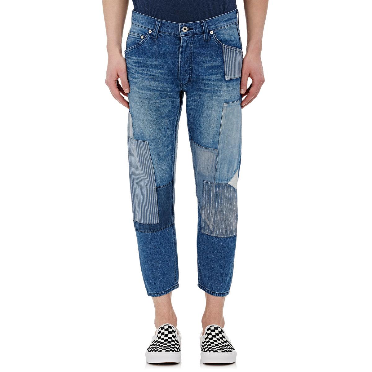 Fdmtl Menu0026#39;s Crop Patchwork Jeans in Blue for Men   Lyst