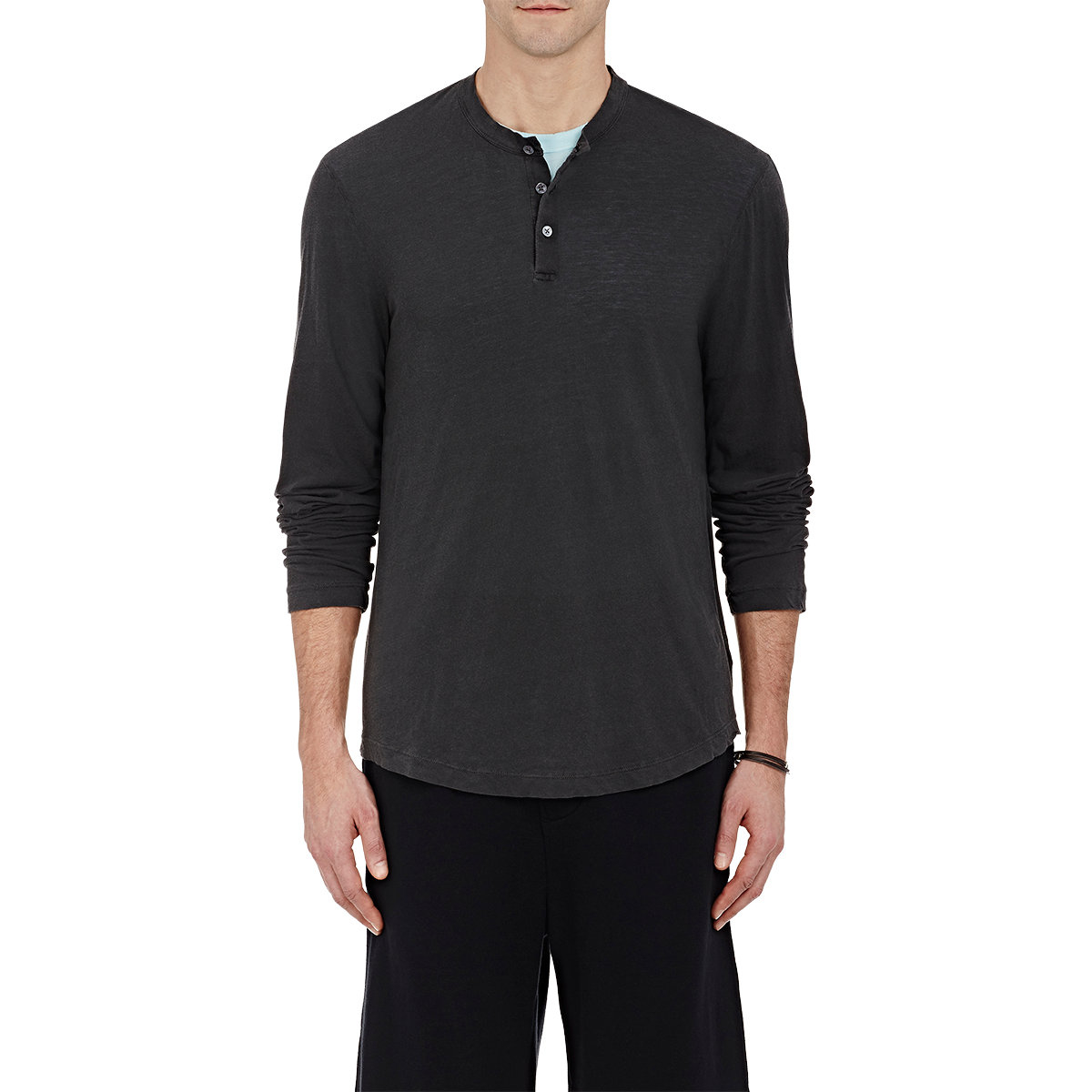 James perse slub jersey henley in black lyst for James perse henley shirt