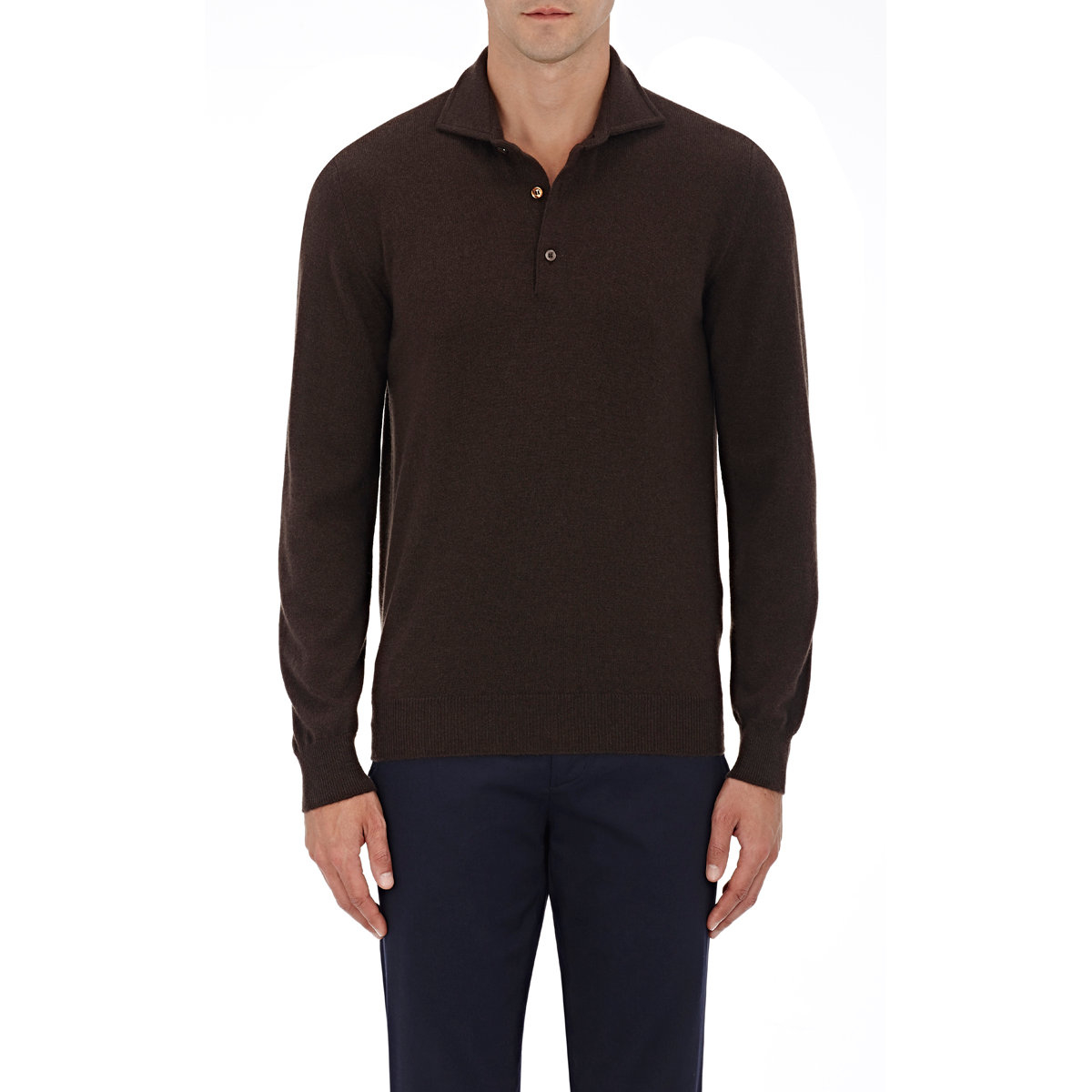 Cifonelli Cashmere Long Sleeve Polo Shirt In Brown For Men