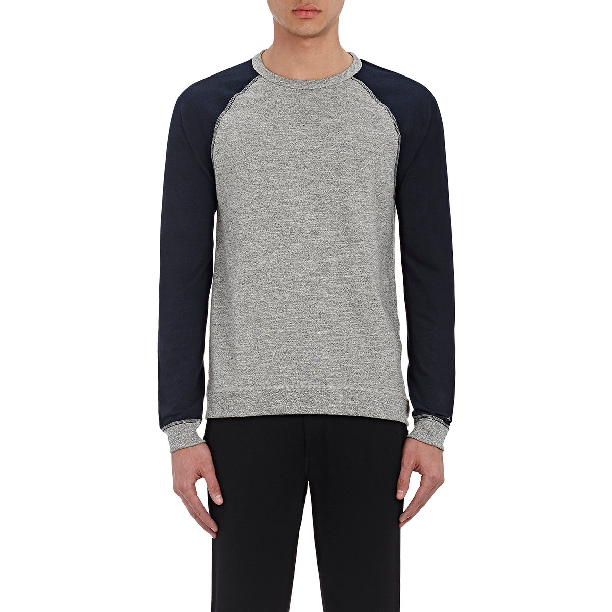 Rag Bone Colorblocked Long Sleeve T Shirt In Gray For
