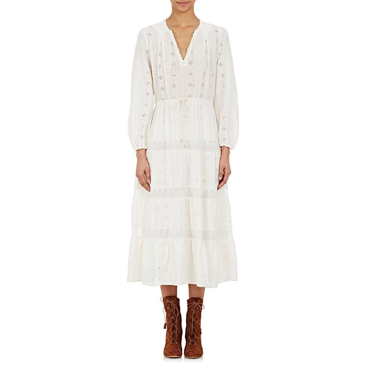 Lyst - Ulla Johnson Clementine Eyelet Cotton-Silk Maxi Dress in White
