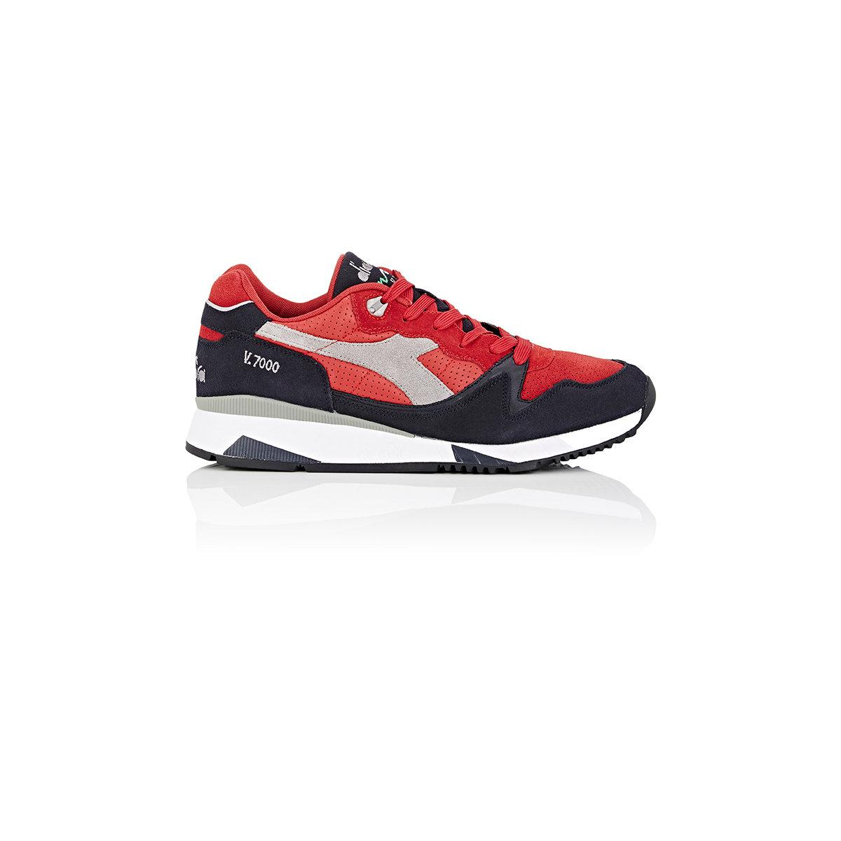 Diadora V7000 Suede & Leather Sneakers in Red