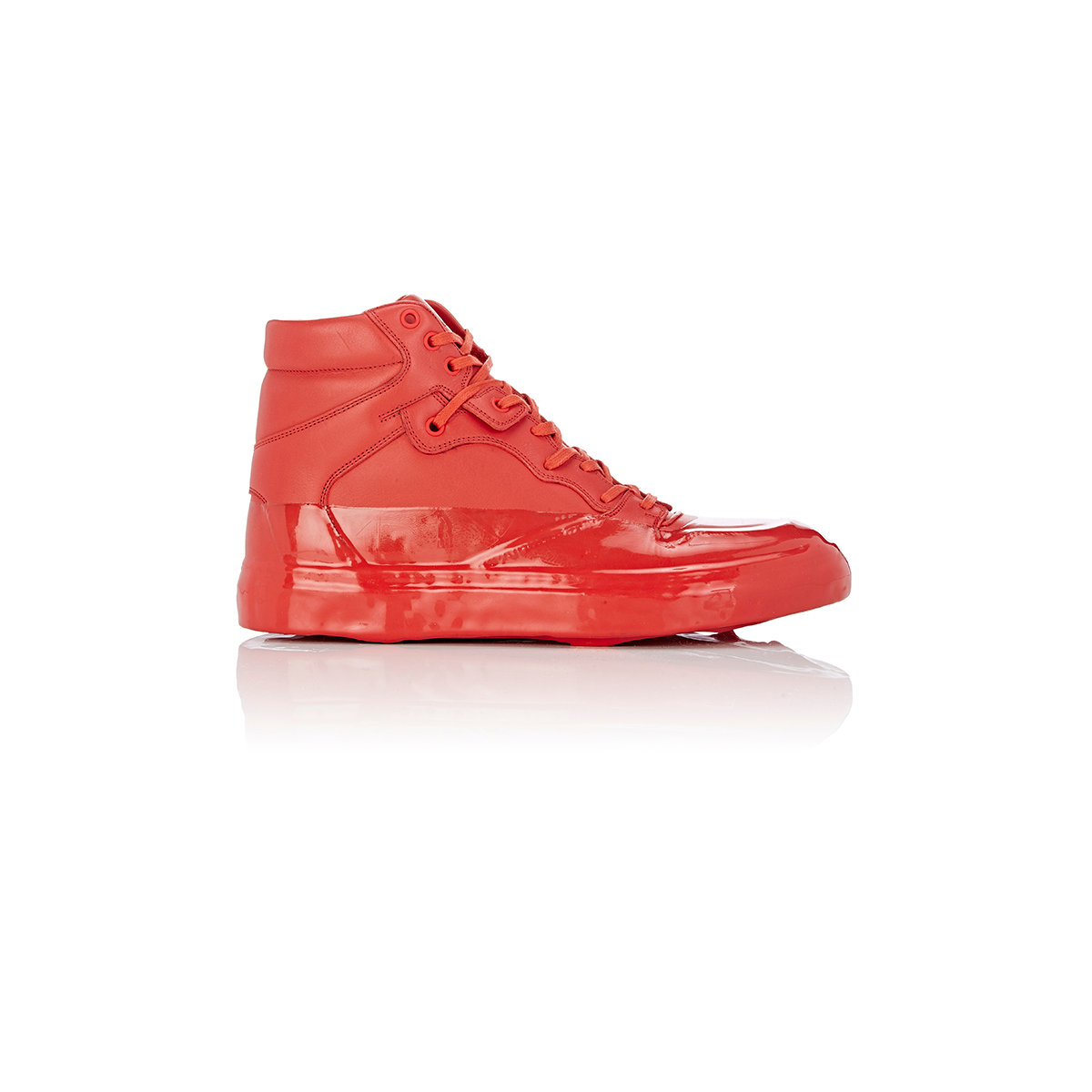 balenciaga patentdipped hightop sneakers in red for men