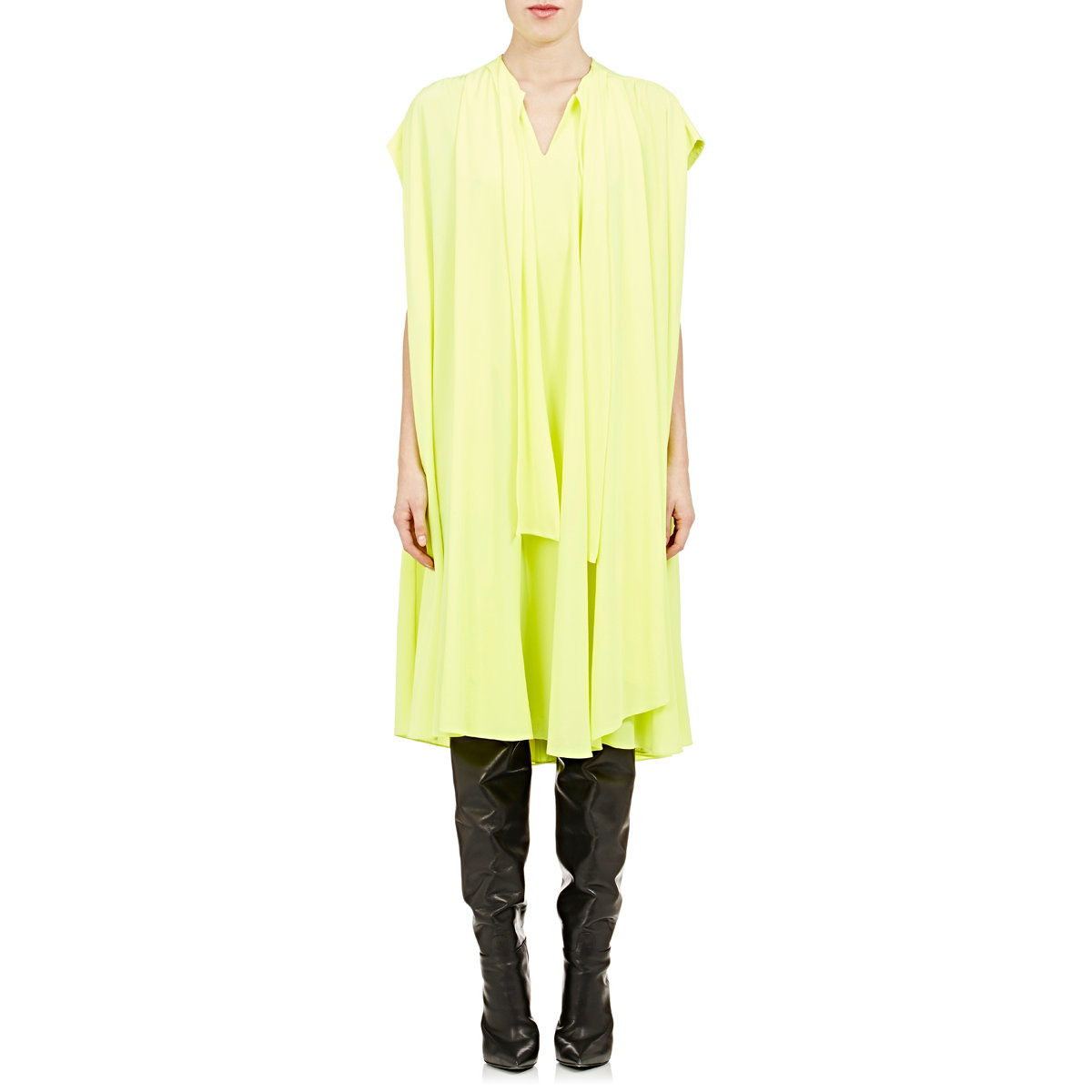 product balenciaga neon pleated silk crepe chine dress