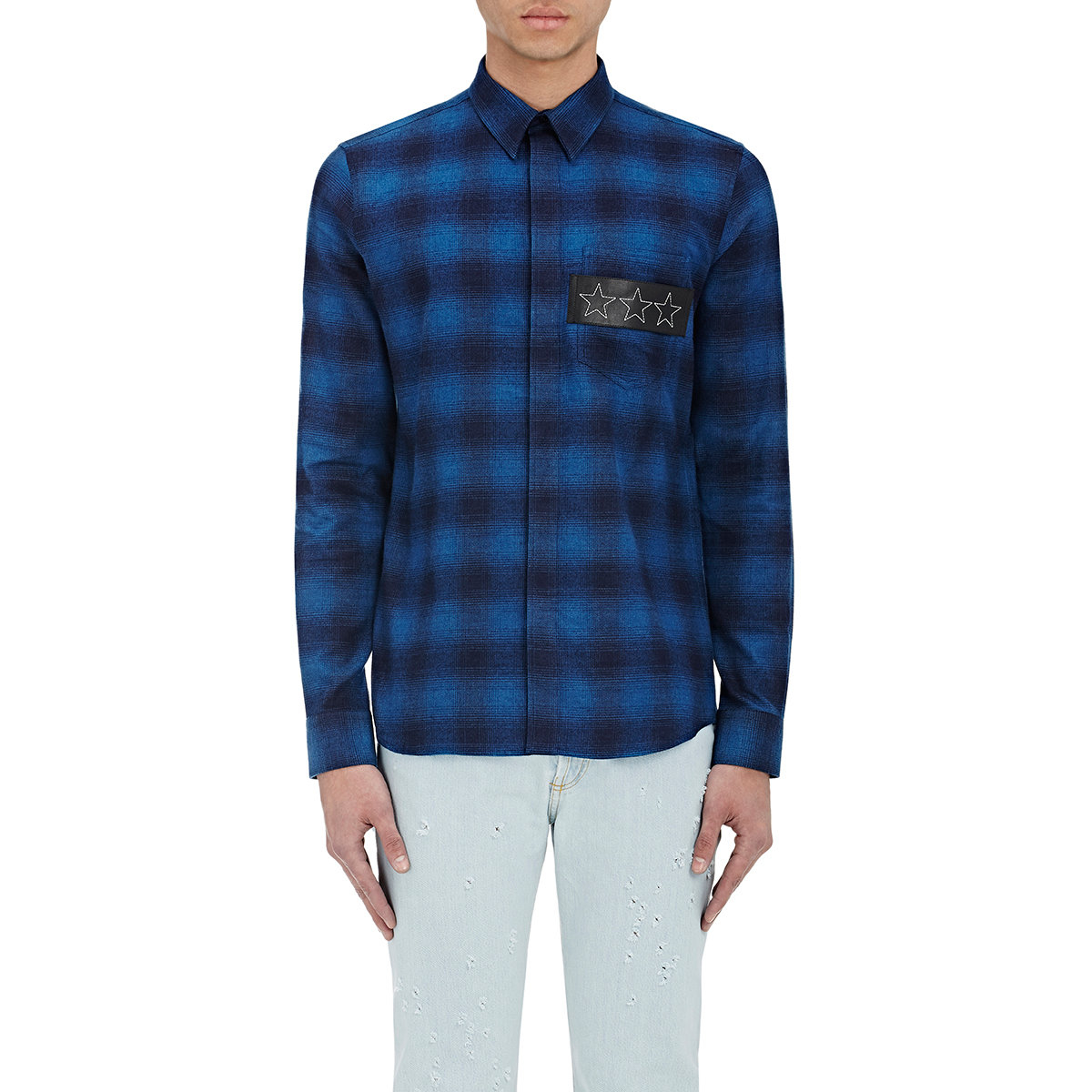 givenchy plaid flannel shirt in blue for men lyst