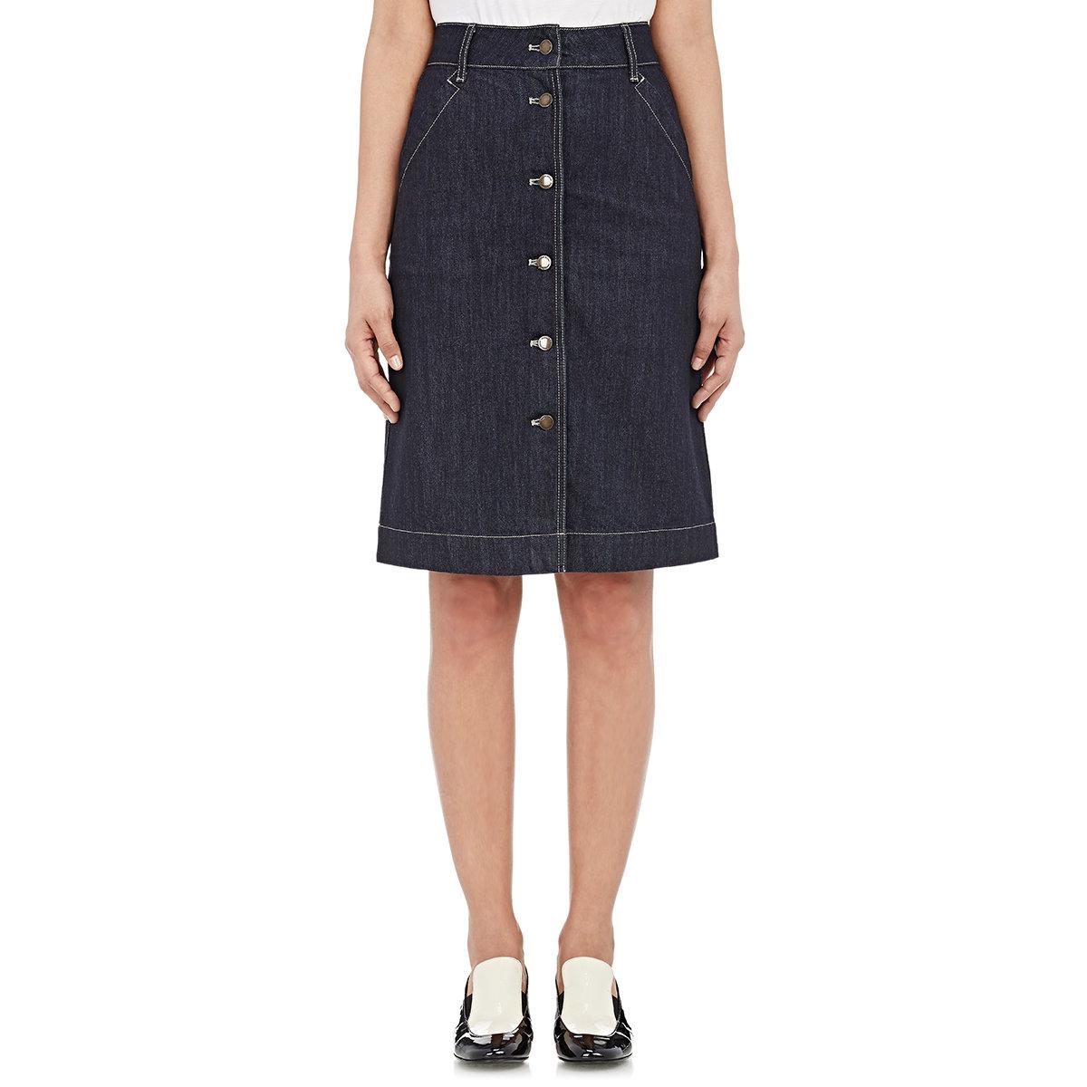 tomas maier denim button front skirt in blue lyst