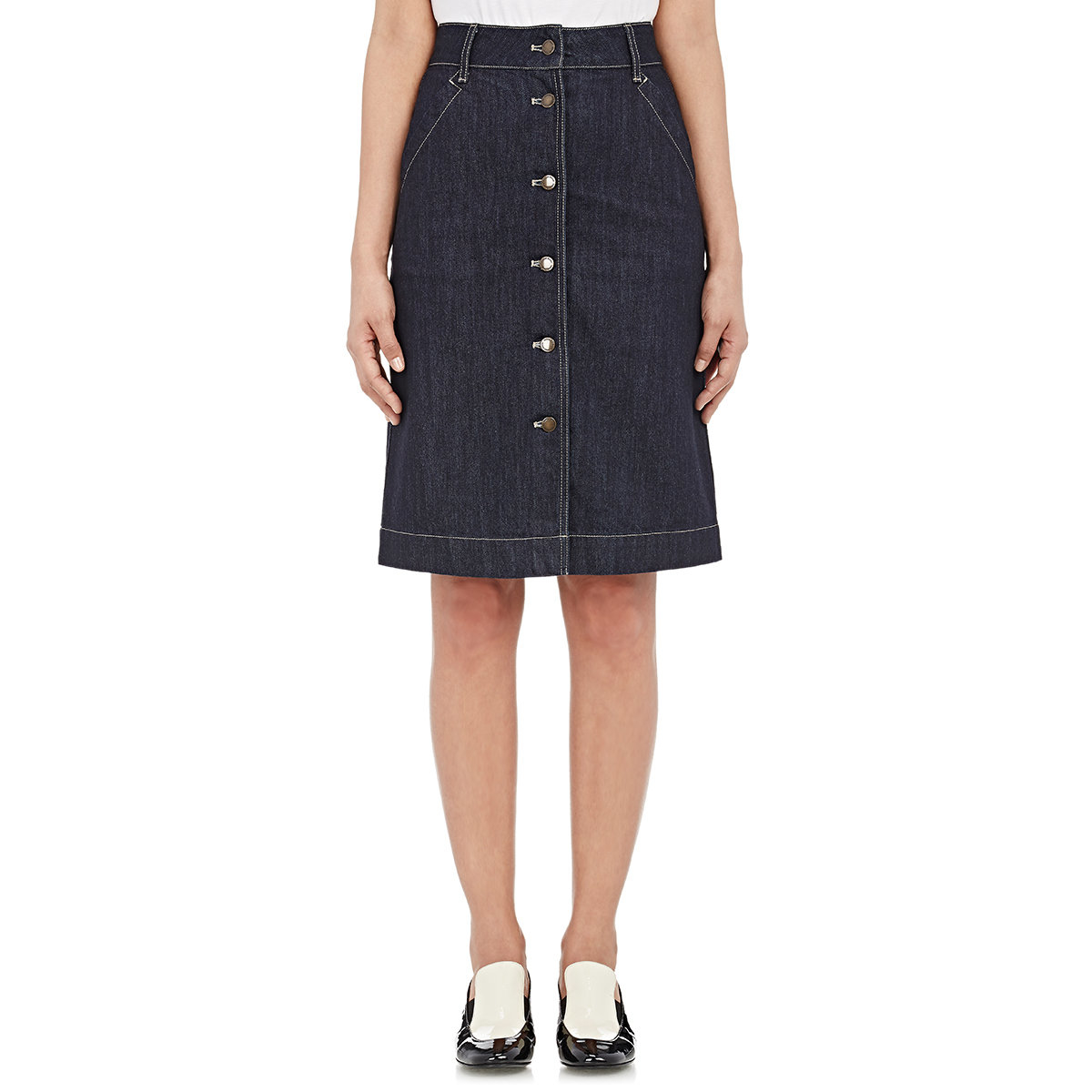 tomas maier denim button front skirt in black lyst