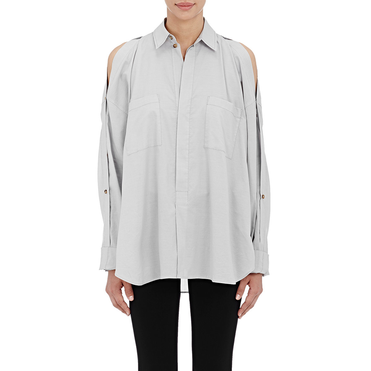 helmut lang split sleeve shirt in white lyst. Black Bedroom Furniture Sets. Home Design Ideas