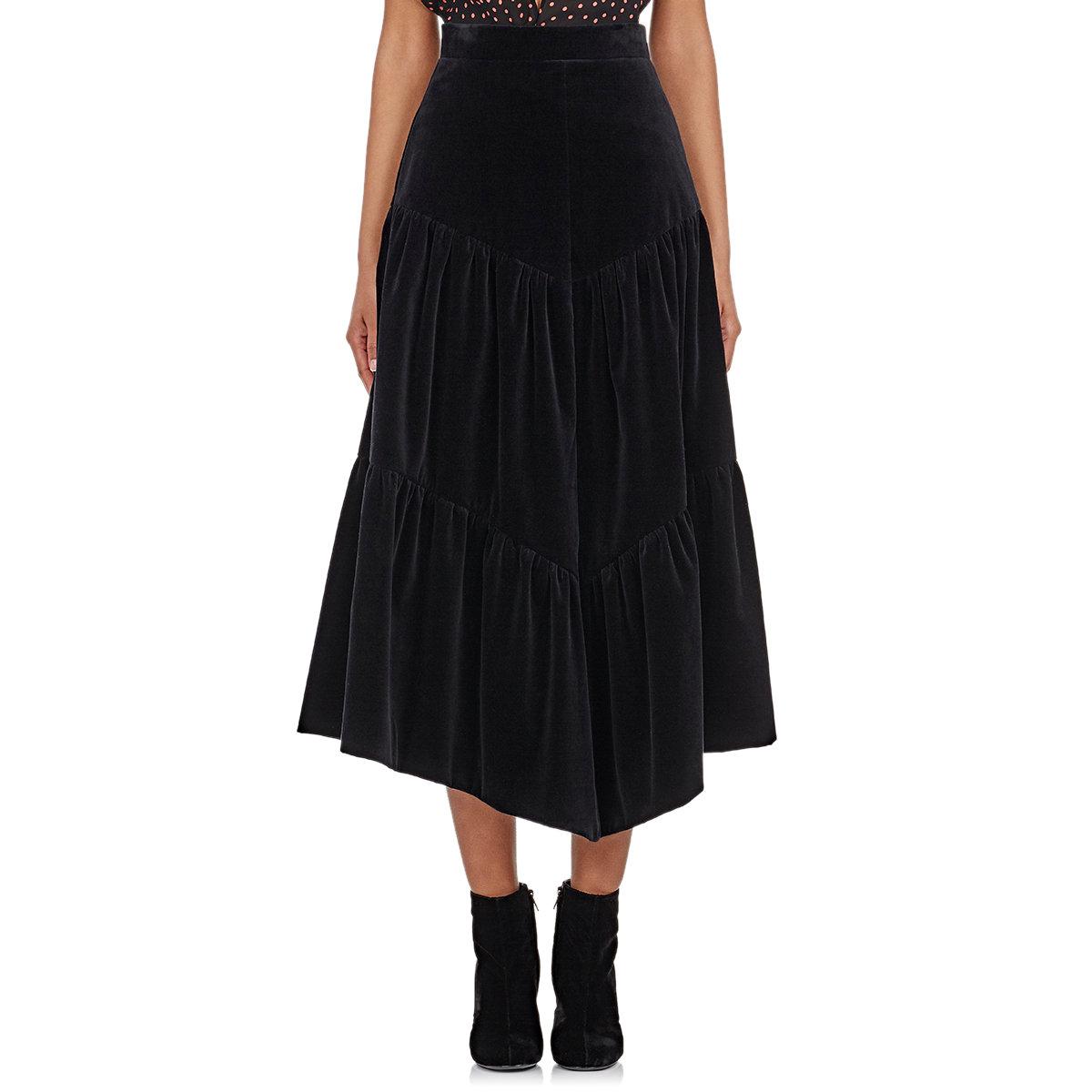laurent s tiered velvet midi skirt in black lyst
