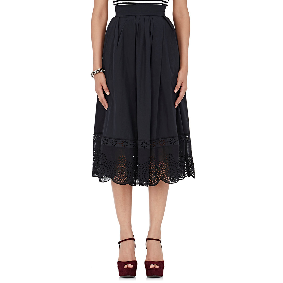 marc vinyl eyelet midi skirt in black lyst