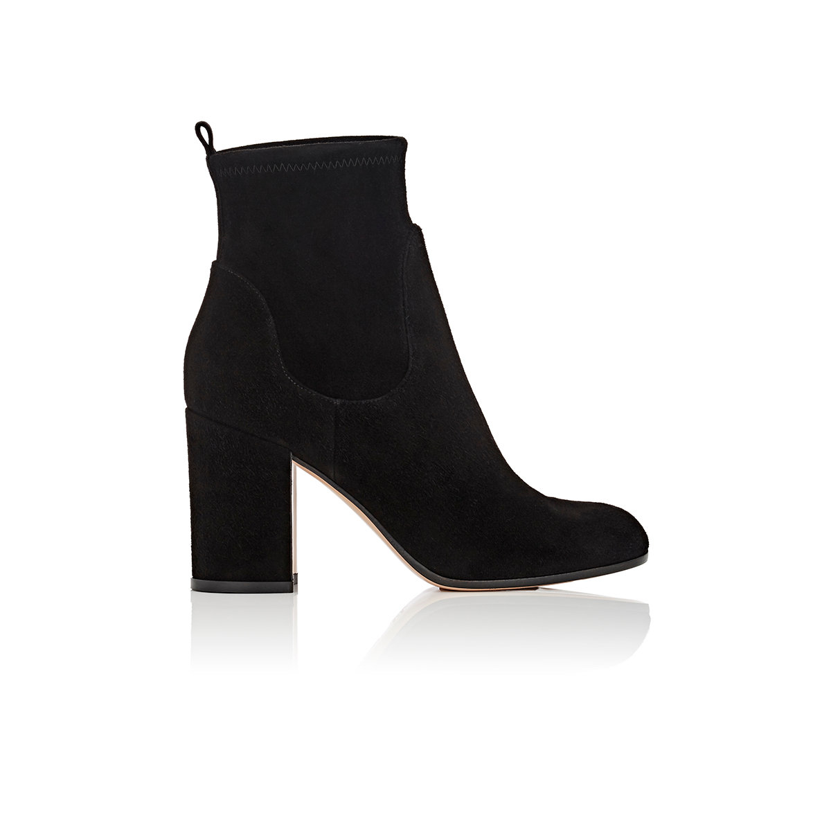 gianvito chunky heel suede ankle boots in black lyst