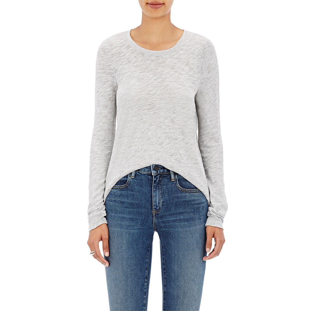 Atm distressed cotton blend long sleeve t in gray lyst for Atm t shirt sale