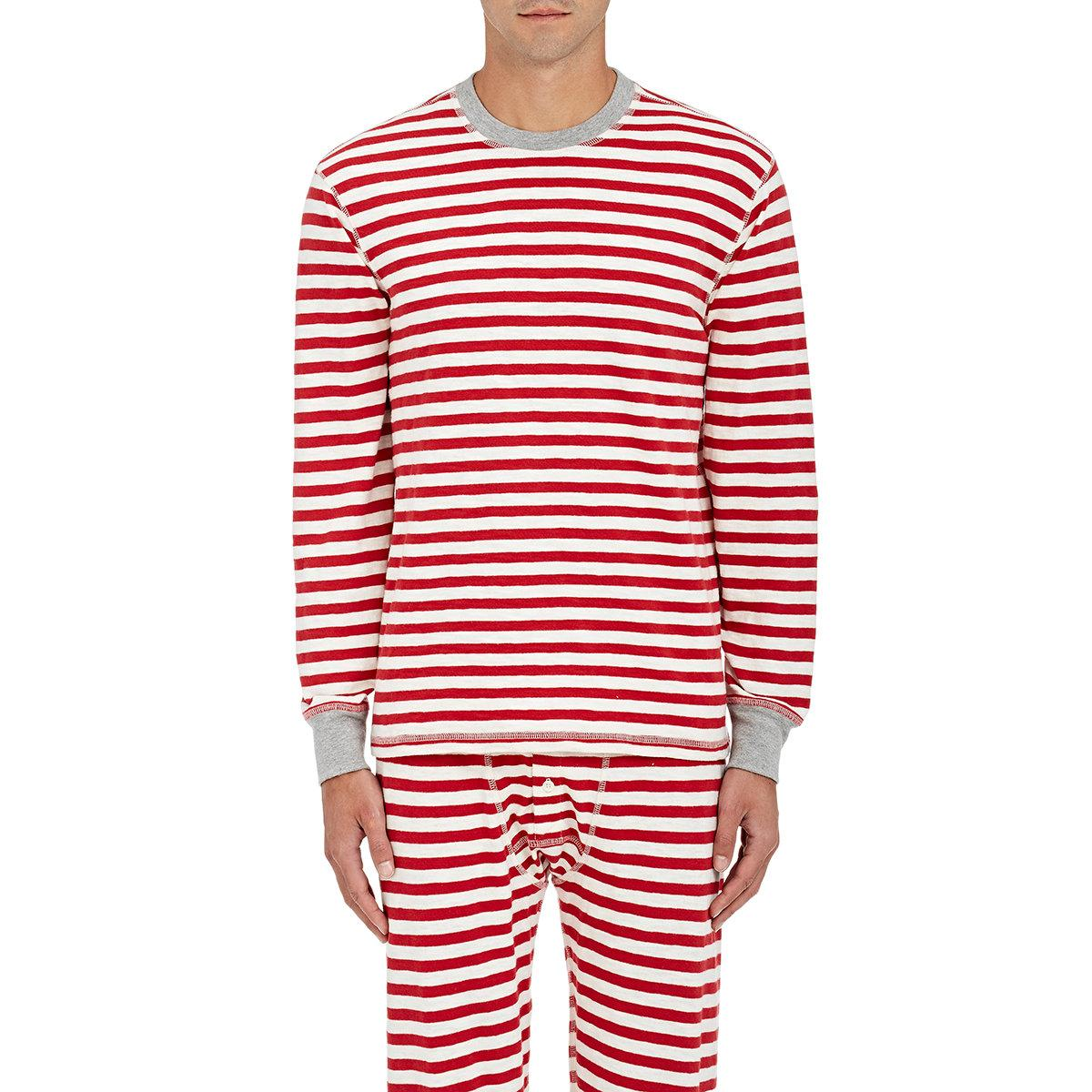 Lyst Sleepy Jones Rugby Striped Cotton Thermal Shirt In