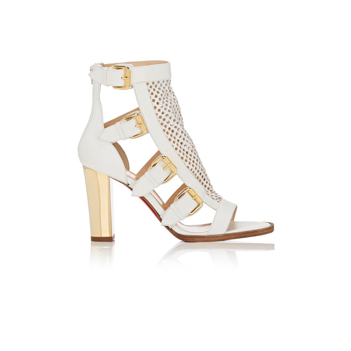 74060a6cad1 Lyst - Christian Louboutin Fencing Leather Gladiator Sandals in White